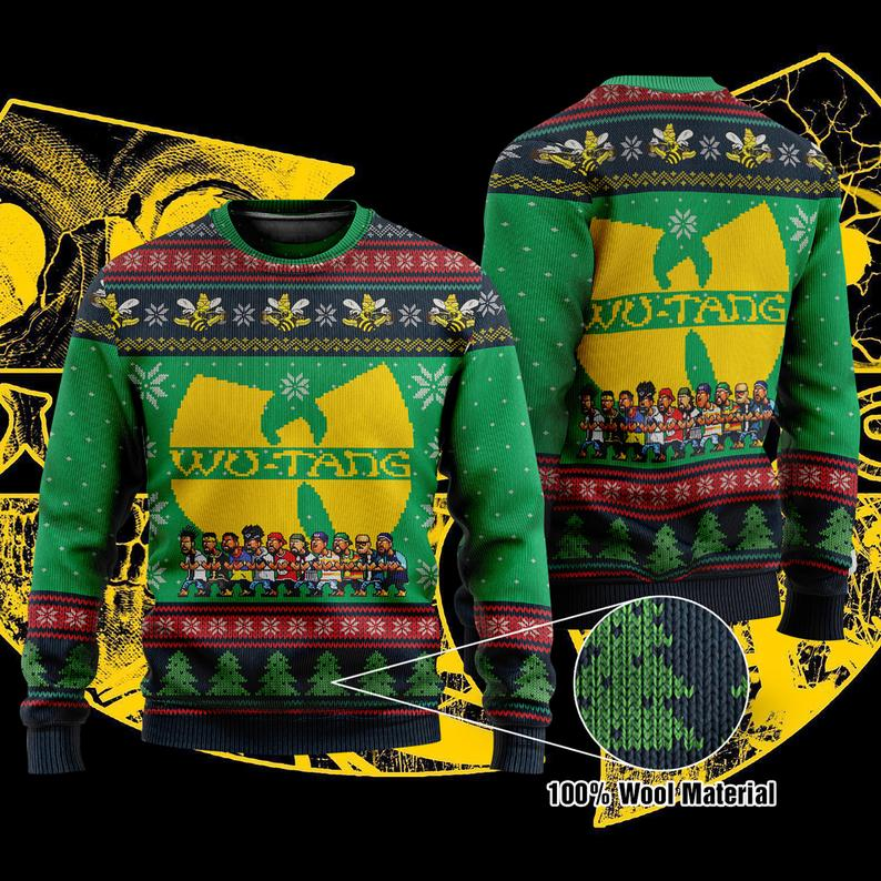 Wu-tang Clans Christmas 100% Wool Ugly Sweater
