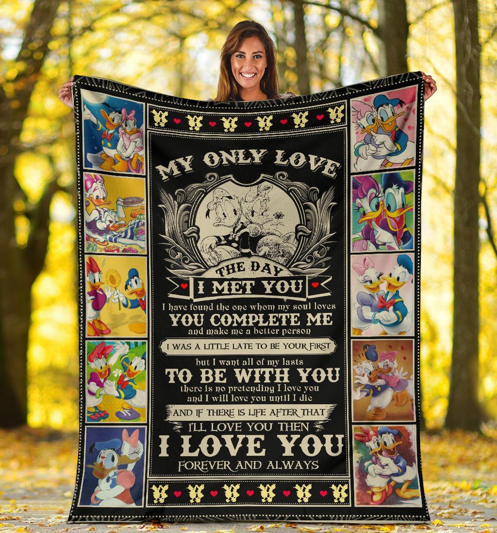 Amazon Best Seller Donald & Daisy Duck My Only Love The Day I Met You Fleece Blanket