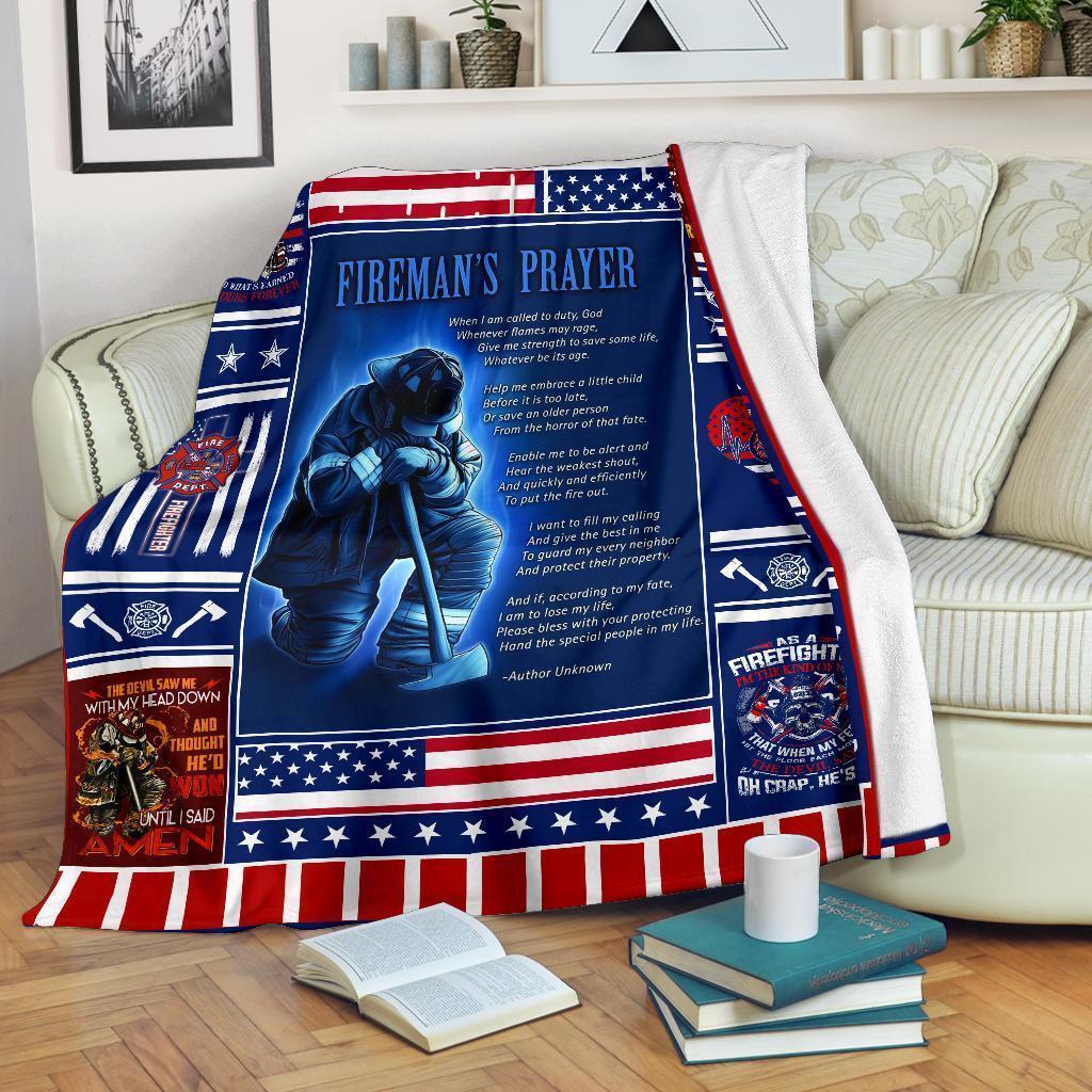 Amazon Best Seller Fireman's Prayer Firefighter Fleece Blanket