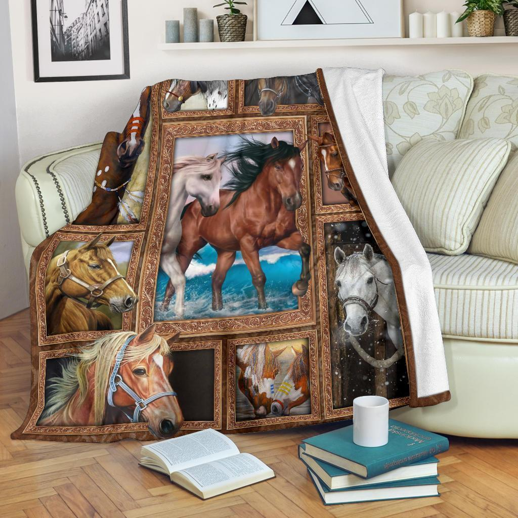 Amazon Best Seller Graphic Art Horses Horse Lover Fleece Blanket