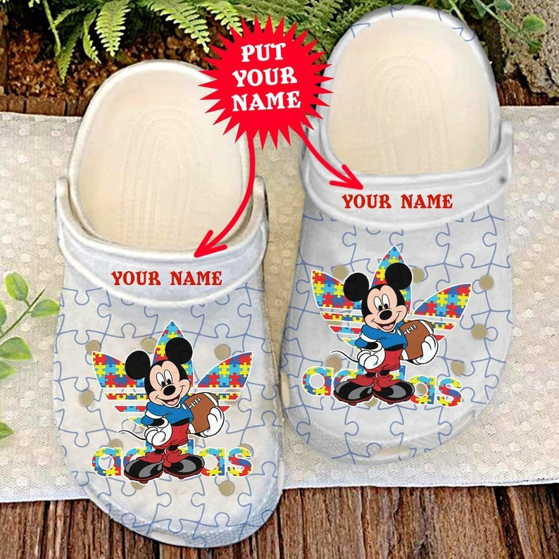 Autism Mickey Cute Disney Comfortable For Mens And Womens Classic Water Crocs Clog Shoes