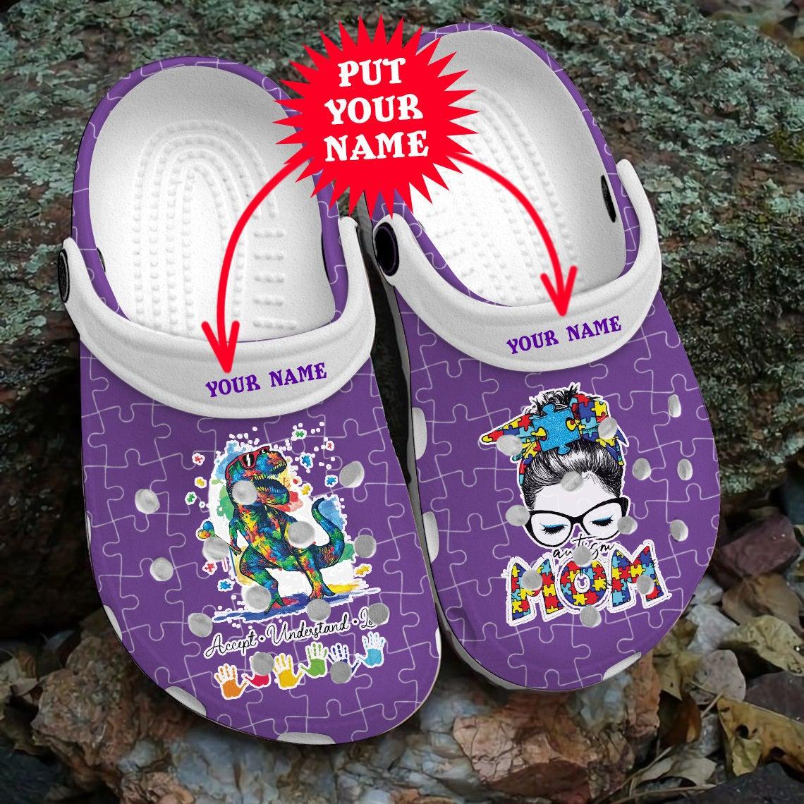 Autism Mom Different Beautiful Dinosaurs Child Awareness Crocs Clog Shoes