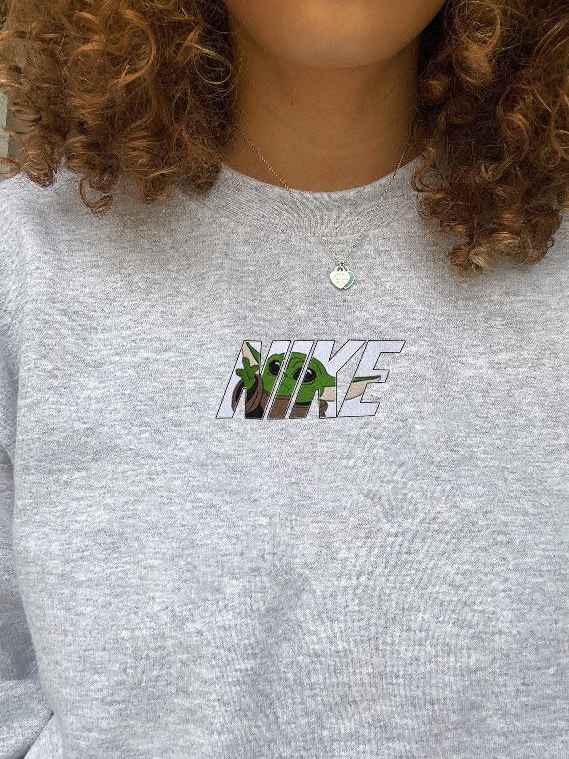 Baby Yoda Embroidered Swoosh Sweatshirt/t-shirt/hoodie Embroidery