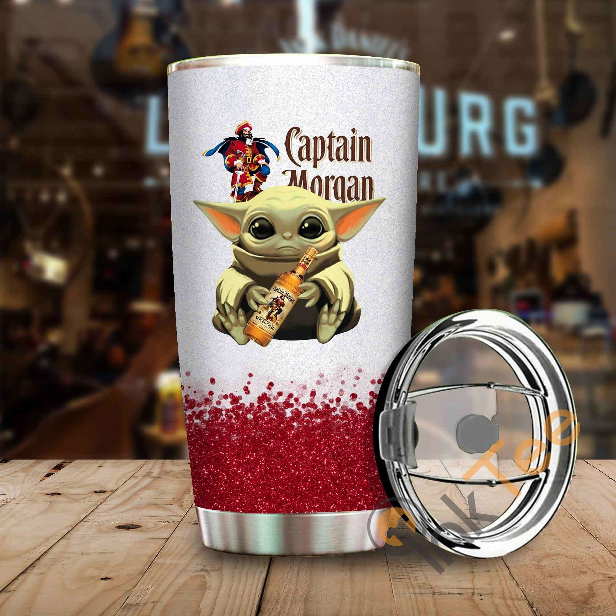 Baby Yoda Hold Captain Morgan Amazon Best Seller Sku 3948 Stainless Steel Tumbler