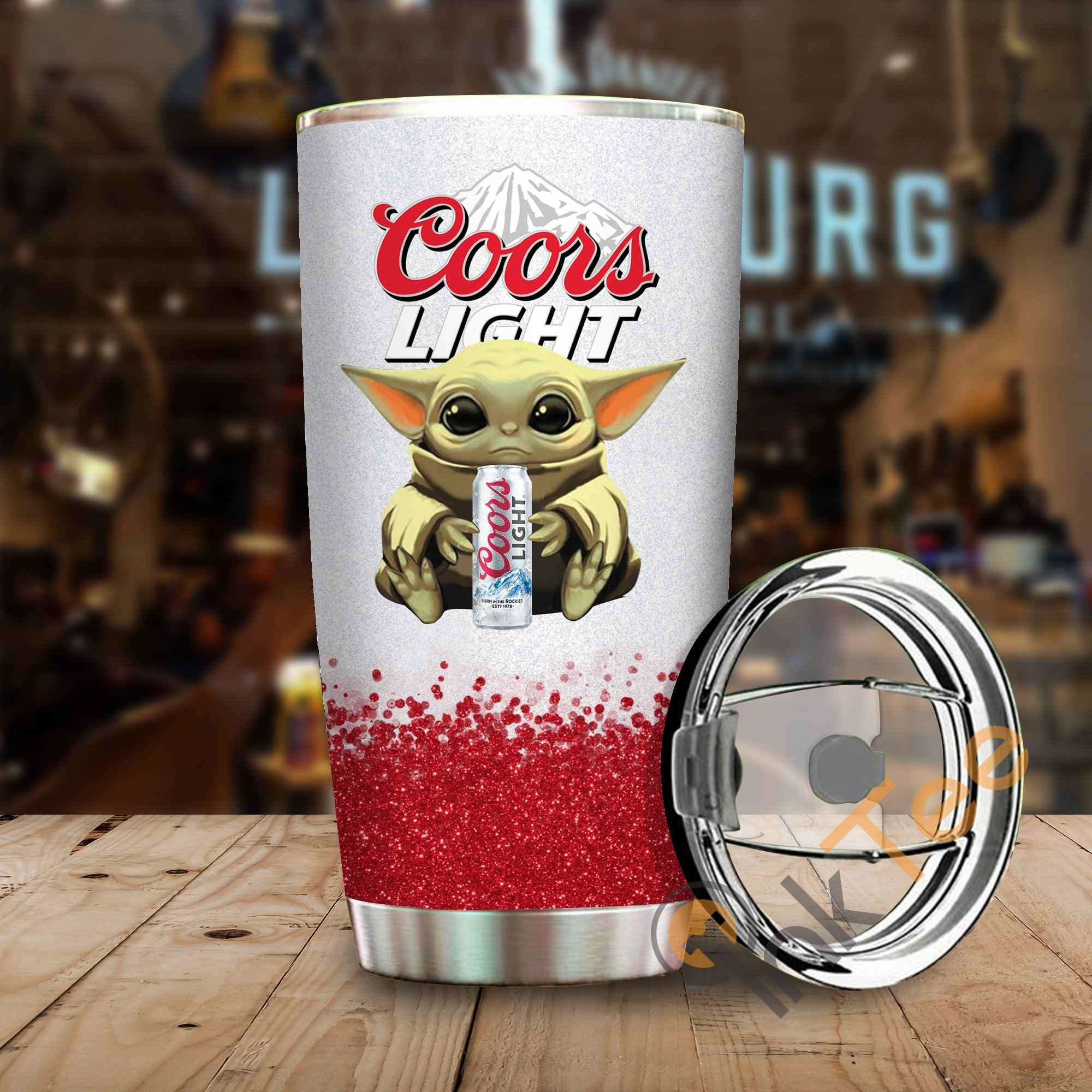 Baby Yoda Hold Coors Light Amazon Best Seller Sku 4063 Stainless Steel Tumbler