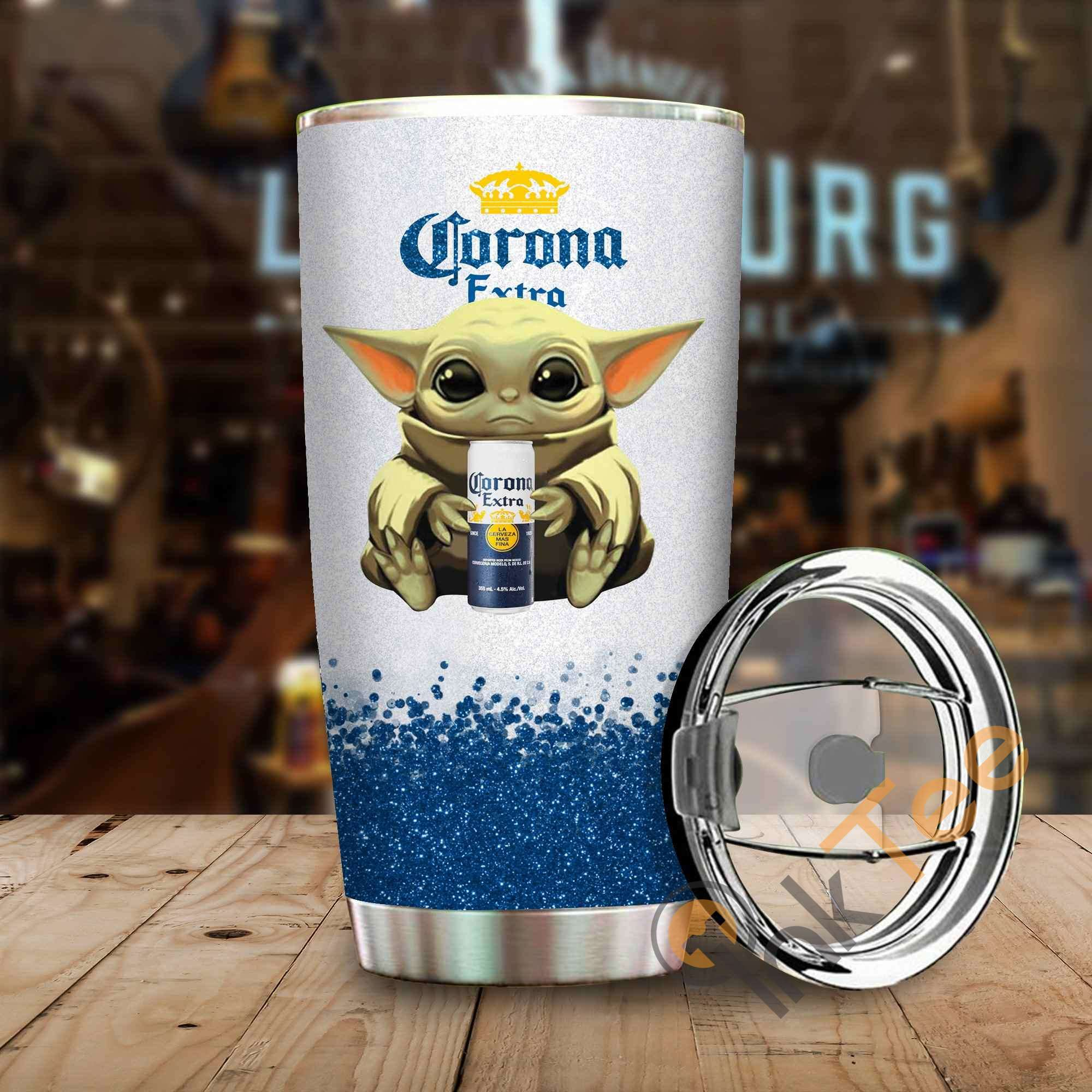 Baby Yoda Hold Corona Amazon Best Seller Sku 3891 Stainless Steel Tumbler