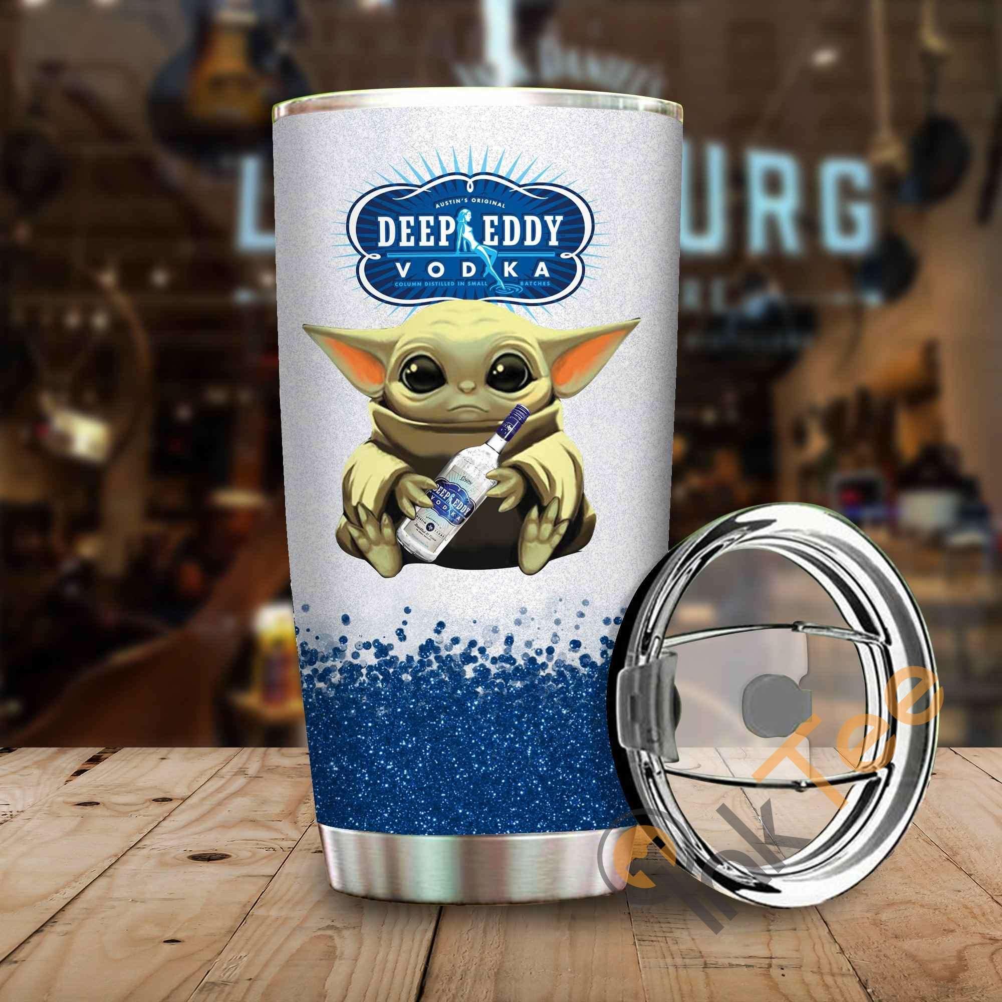 Baby Yoda Hold Deep Eddy Vodka Wine Bottle Amazon Best Seller Sku 3905 Stainless Steel Tumbler