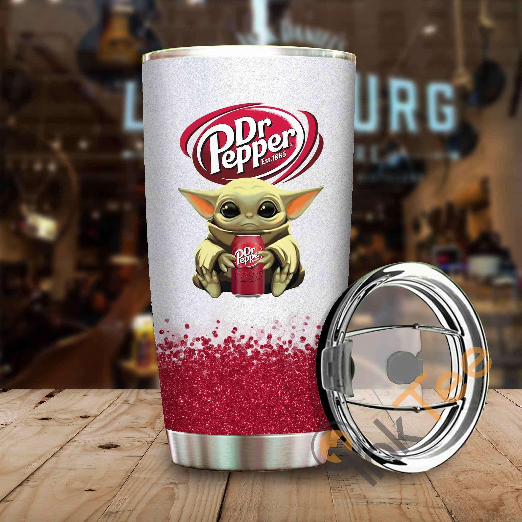Baby Yoda Hold Dr Pepper Amazon Best Seller Sku 3876 Stainless Steel Tumbler