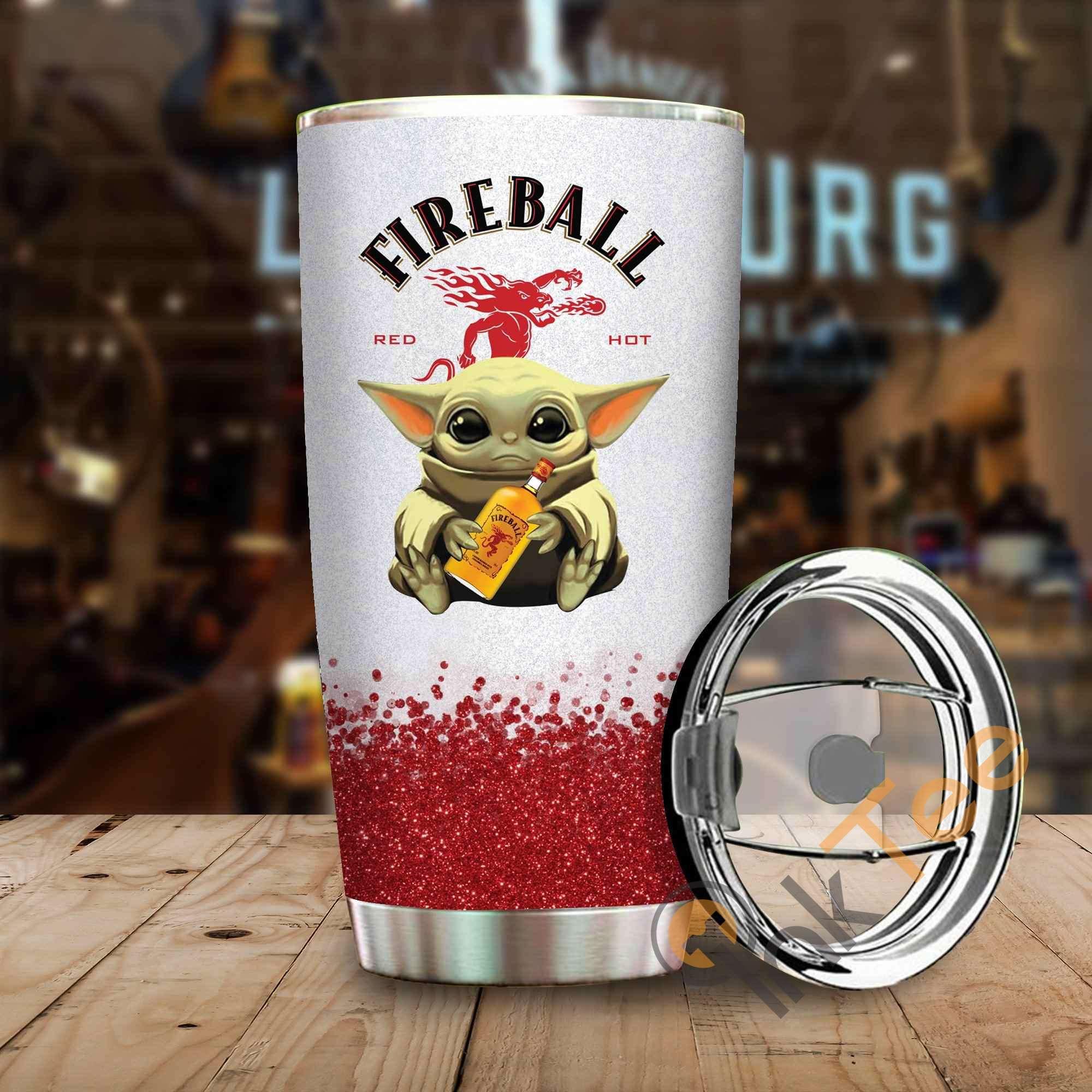 Baby Yoda Hold Fireball Wine Bottle Amazon Best Seller Sku 4085 Stainless Steel Tumbler