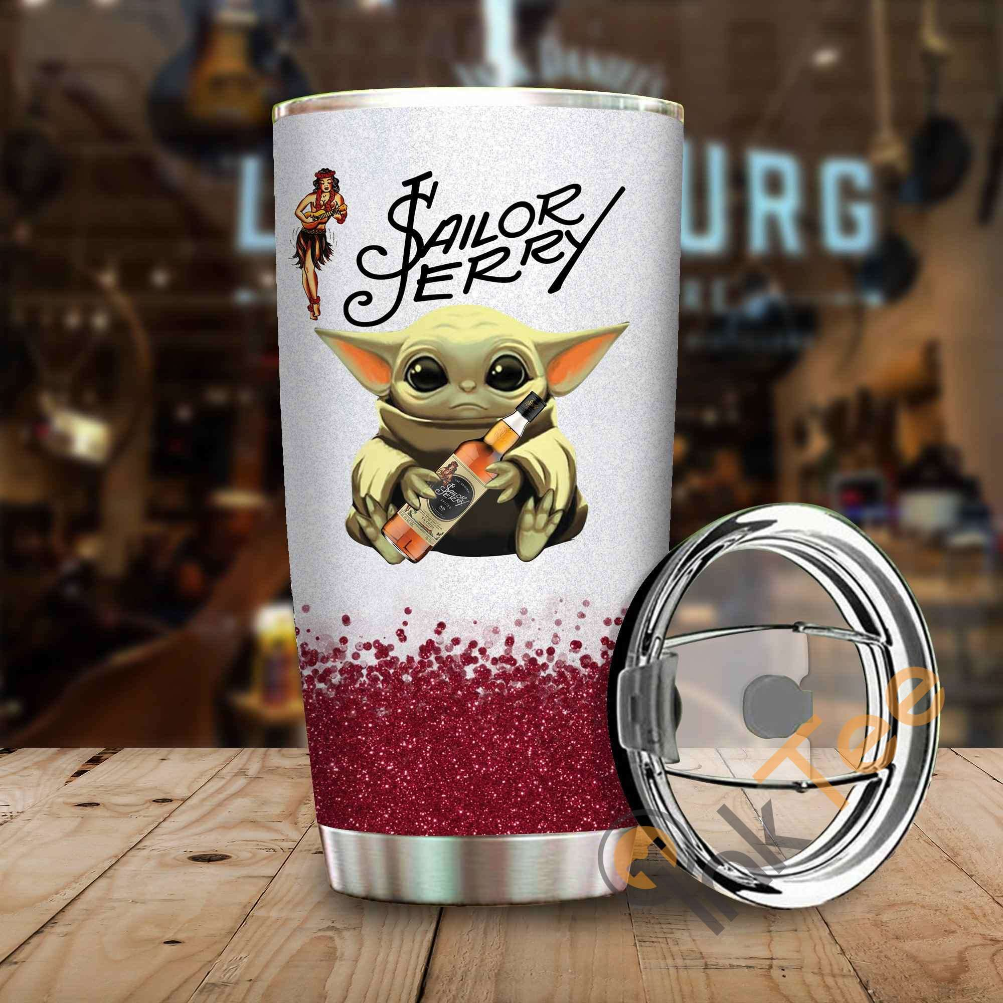 Baby Yoda Hold Sailor Jerry Amazon Best Seller Sku 4034 Stainless Steel Tumbler
