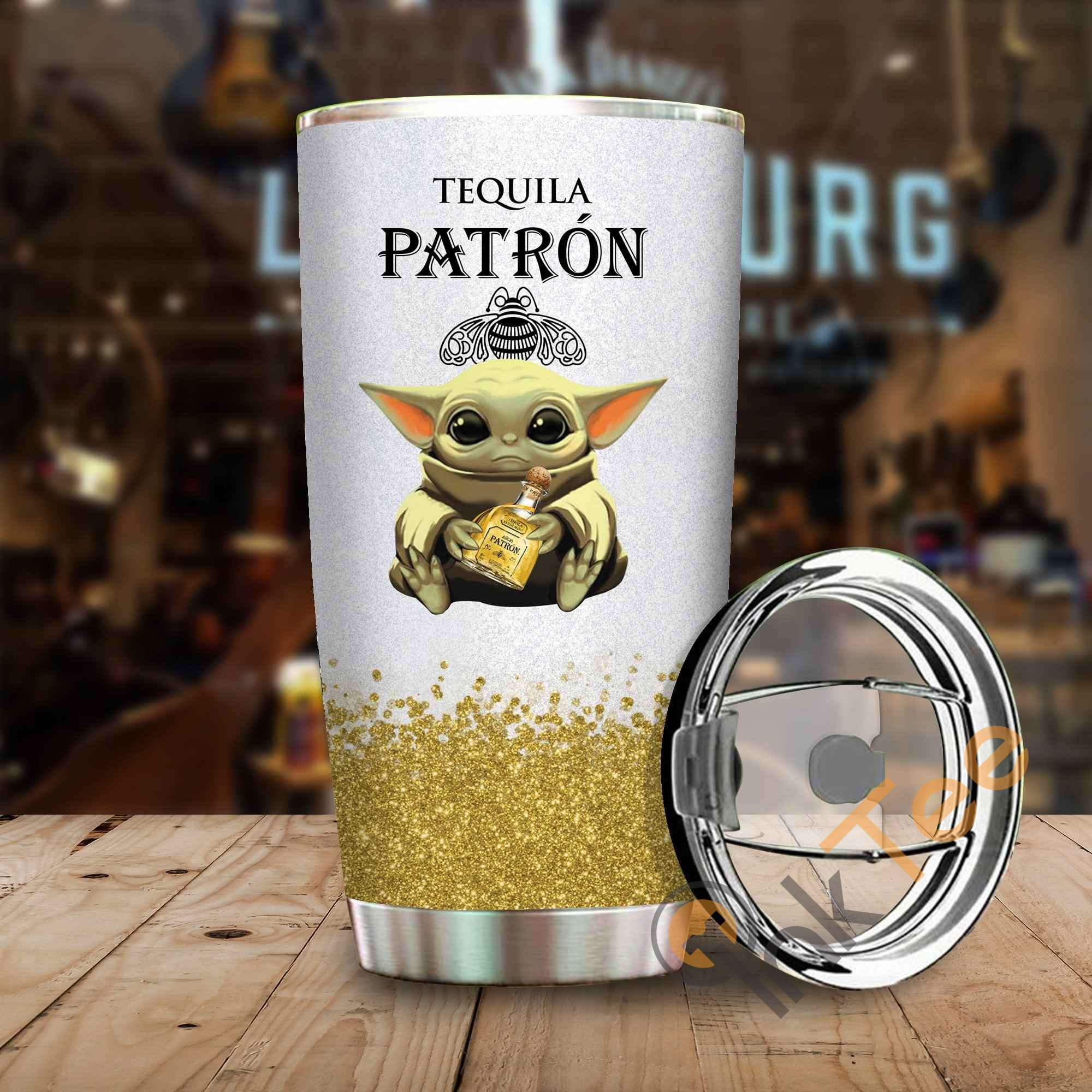 Baby Yoda Hold Tequila Patron Wine Bottle Amazon Best Seller Sku 3998 Stainless Steel Tumbler