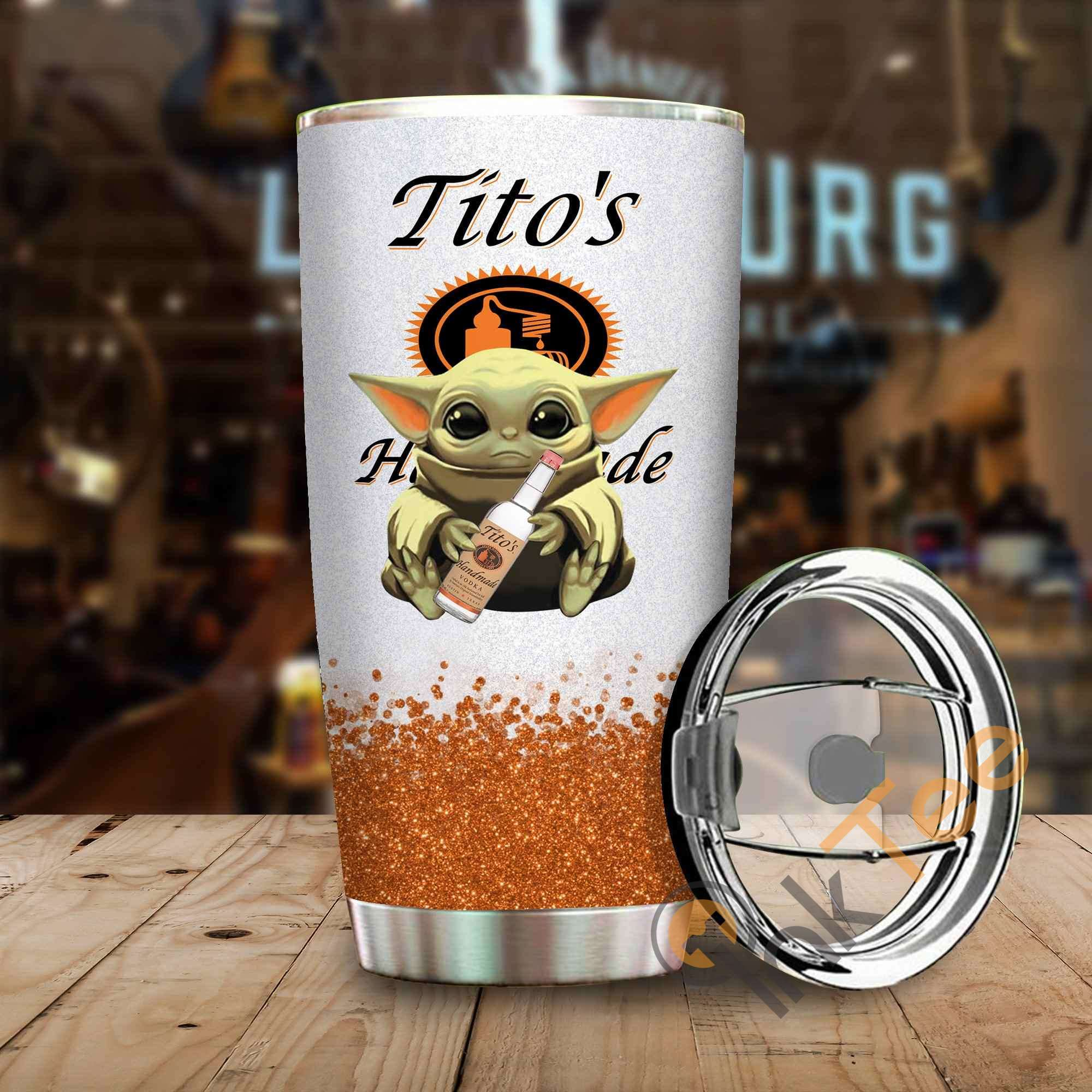 Baby Yoda Hold Tito's Amazon Best Seller Sku 4086 Stainless Steel Tumbler