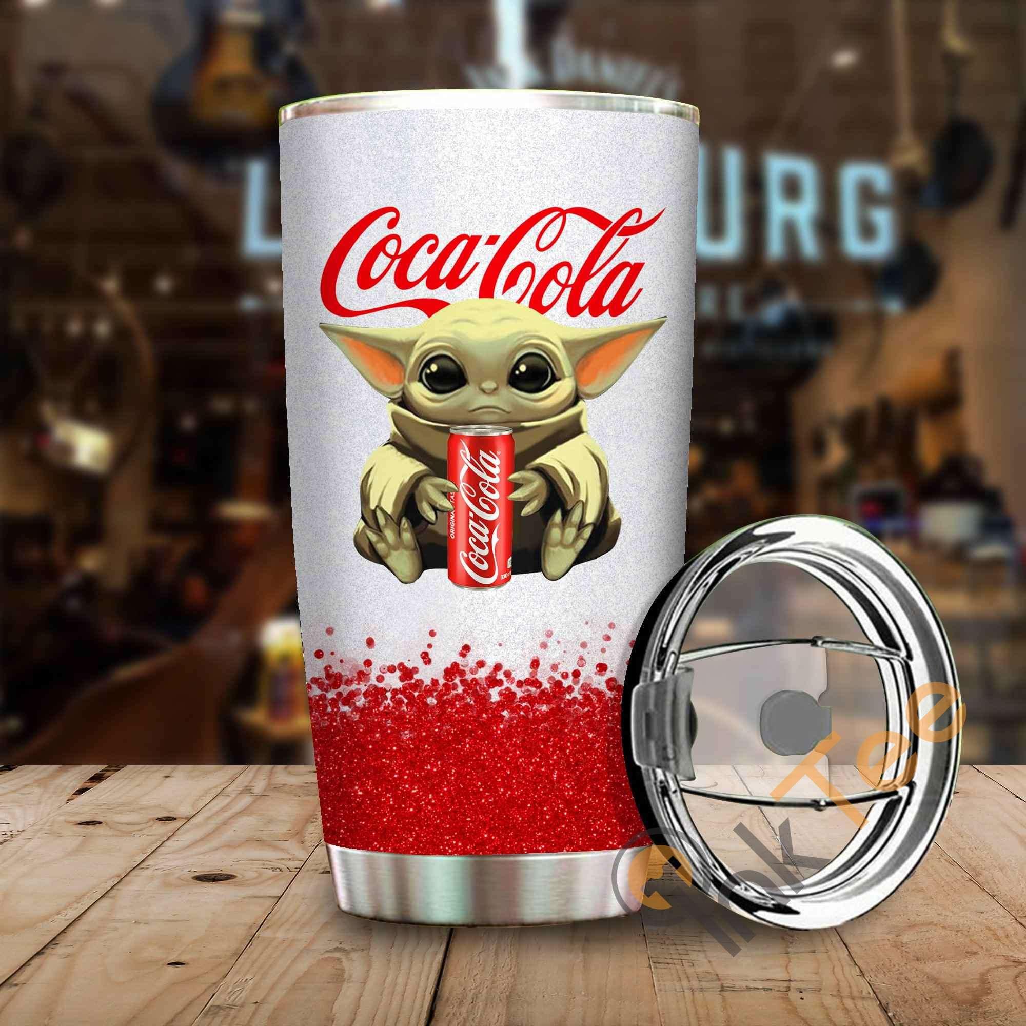 Baby Yoda Holding Coca-cola Amazon Best Seller Sku 3927 Stainless Steel Tumbler