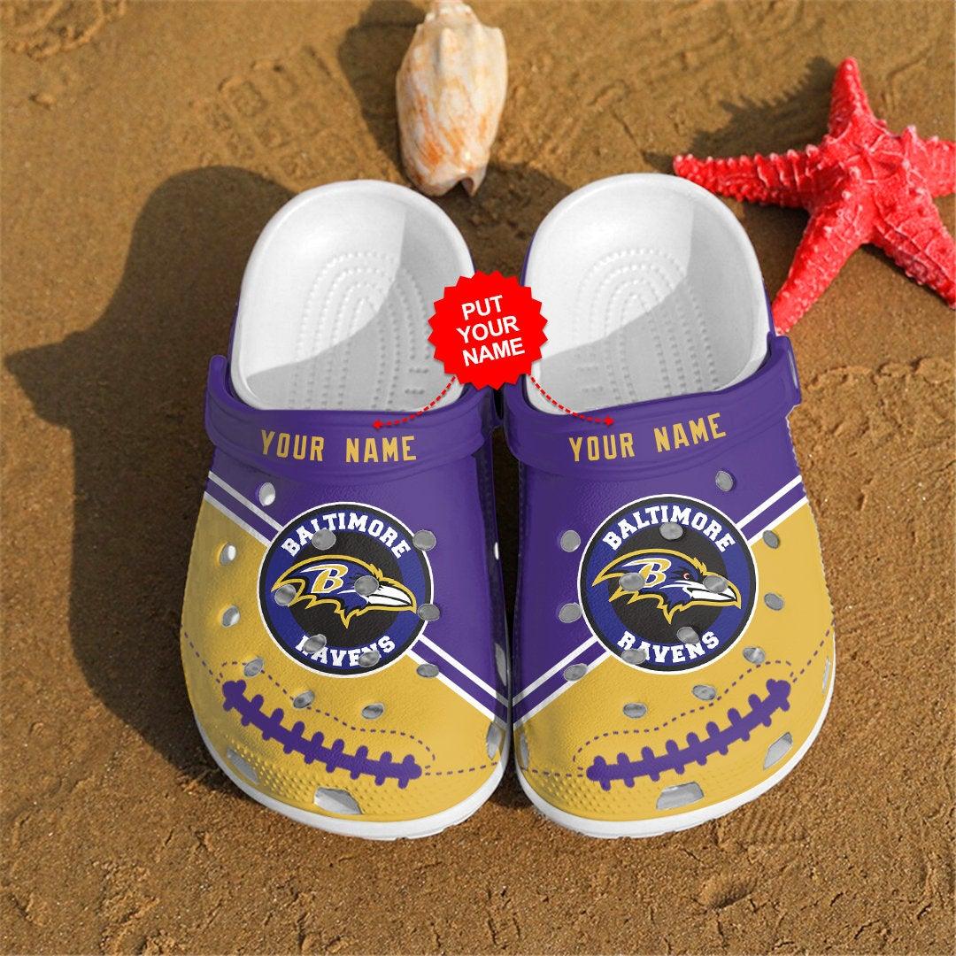 Baltimore Ravens Personalized Custom For Nfl Fans Crocs Clog Shoes