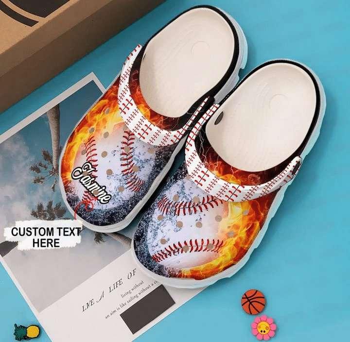 Baseball Personalized Fire Crocs Clog Shoes