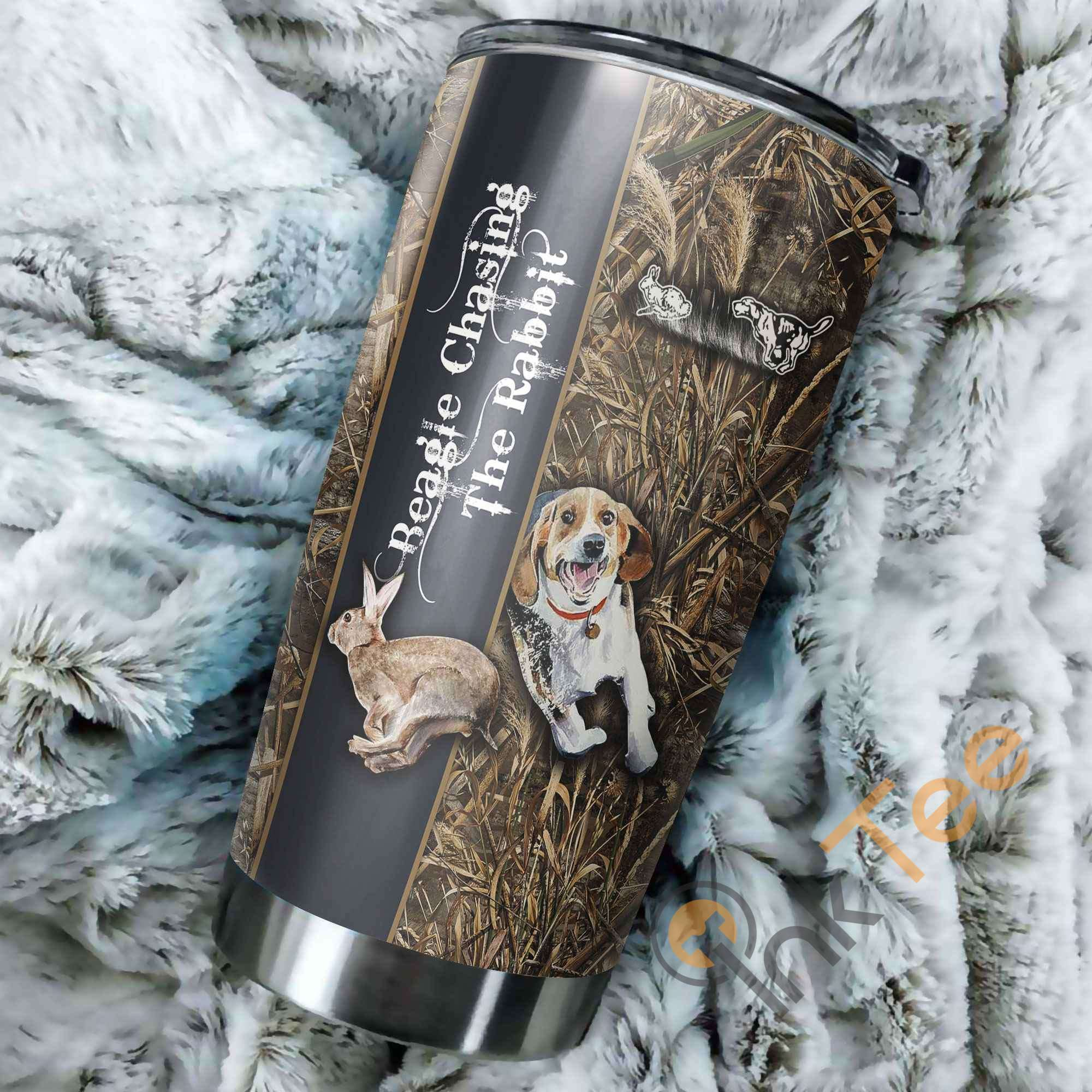 Beagle Chasing The Rabbit Stainless Steel Tumbler