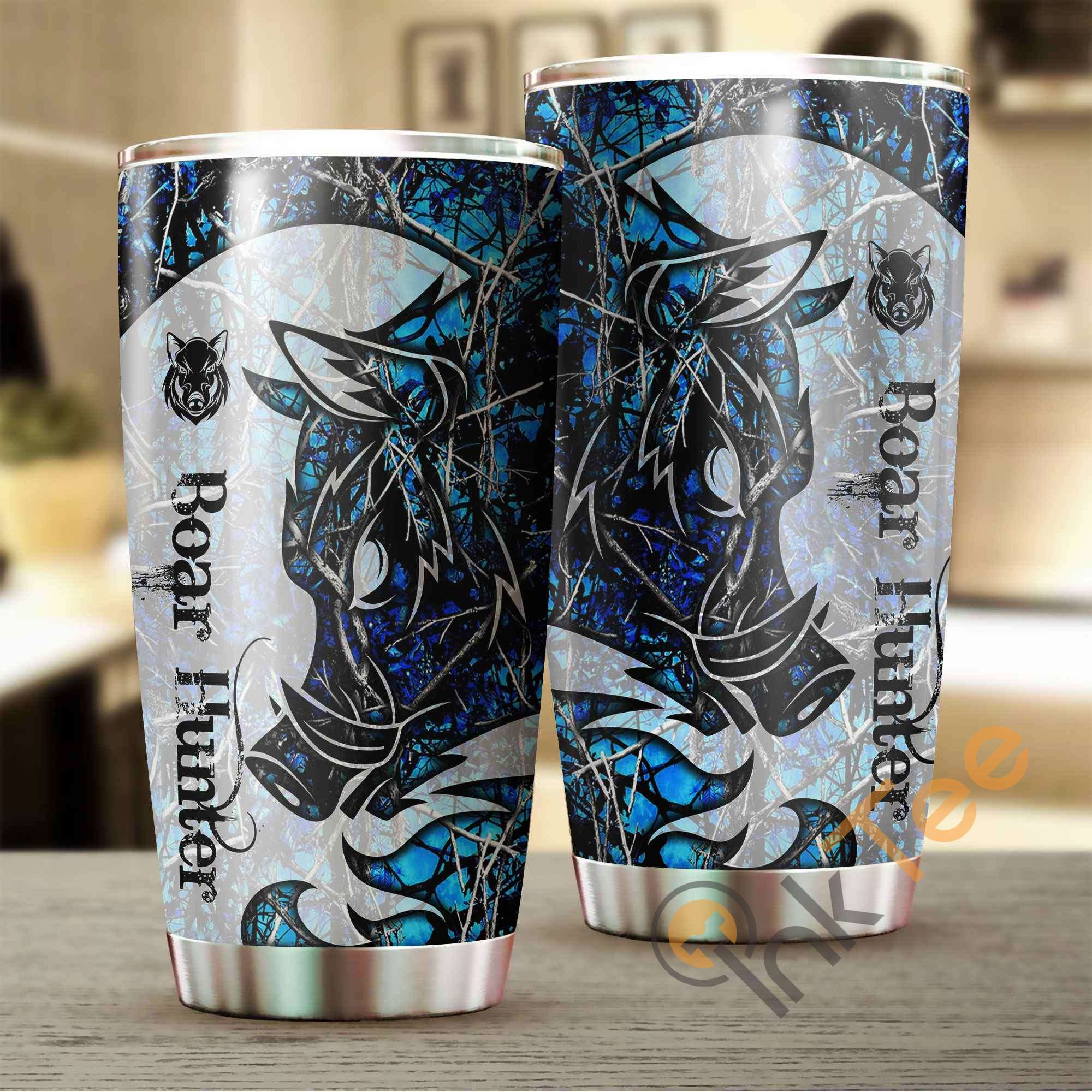 Beautiful Boar Tattoo Blue Camo Stainless Steel Tumbler