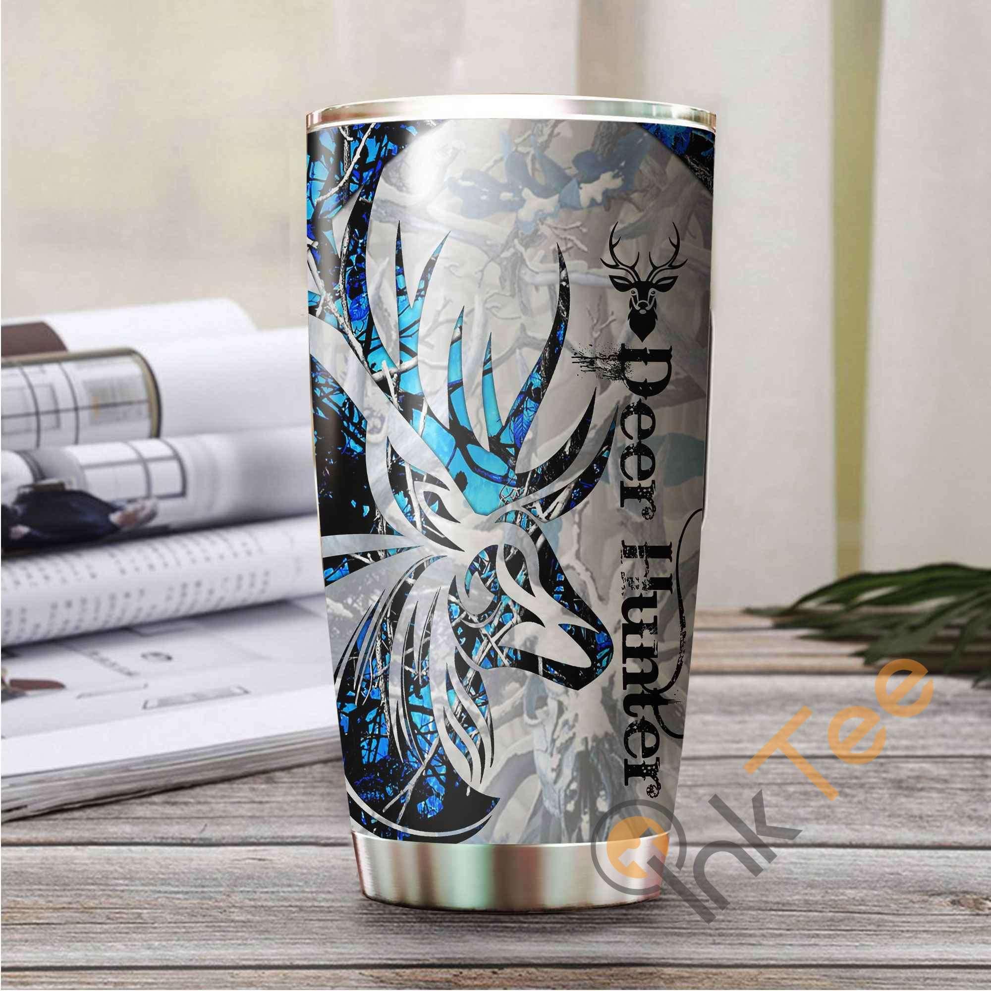 Beautiful Deer Tattoo Blue Camo Amazon Best Seller Sku 2627 Stainless Steel Tumbler