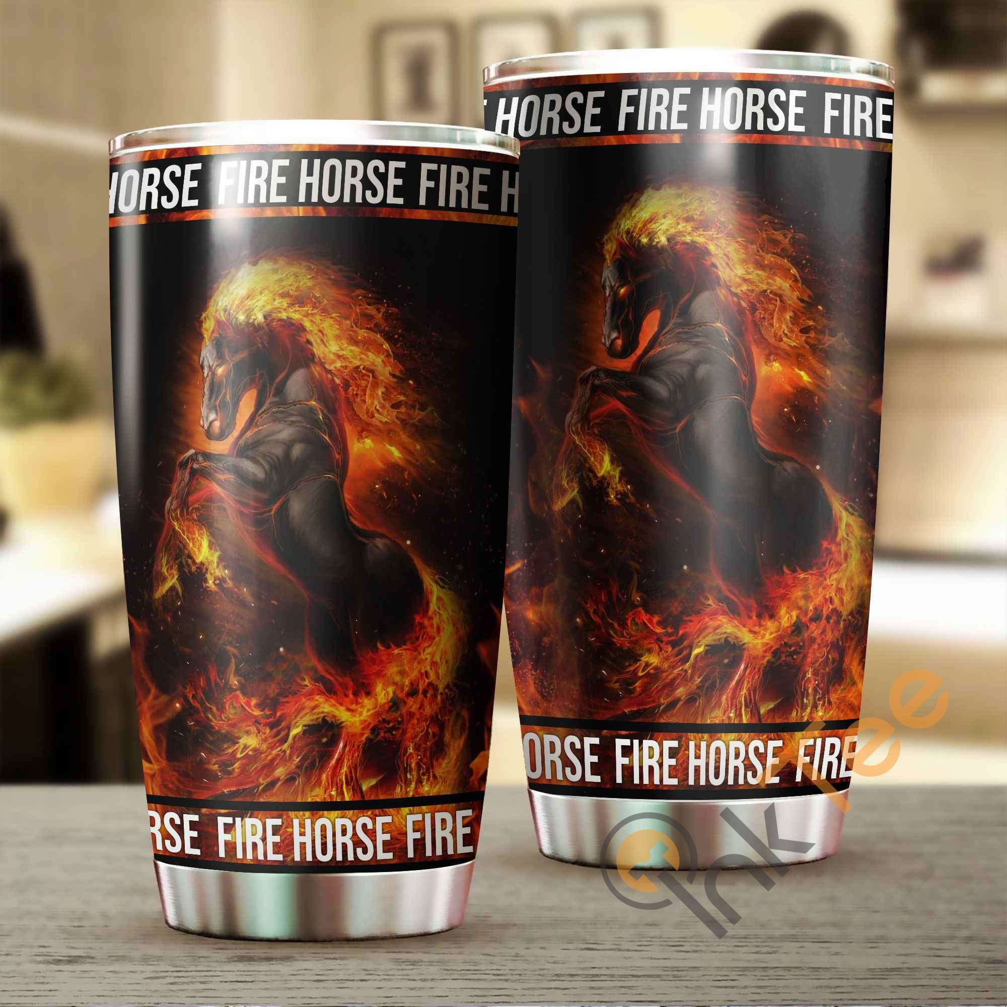 Beautiful Fire Horse Stainless Steel Tumbler