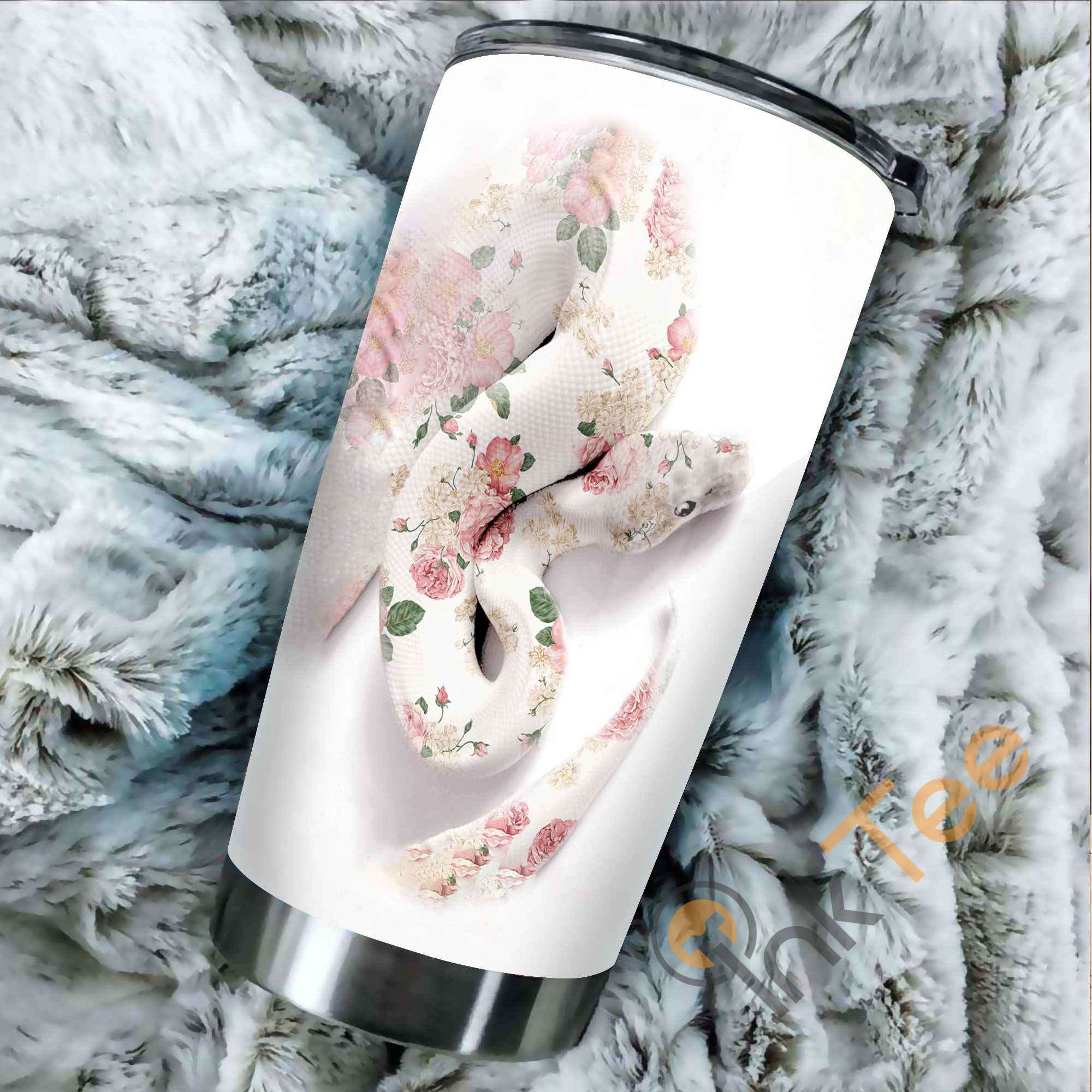Beautiful Floral Snake Stainless Steel Tumbler