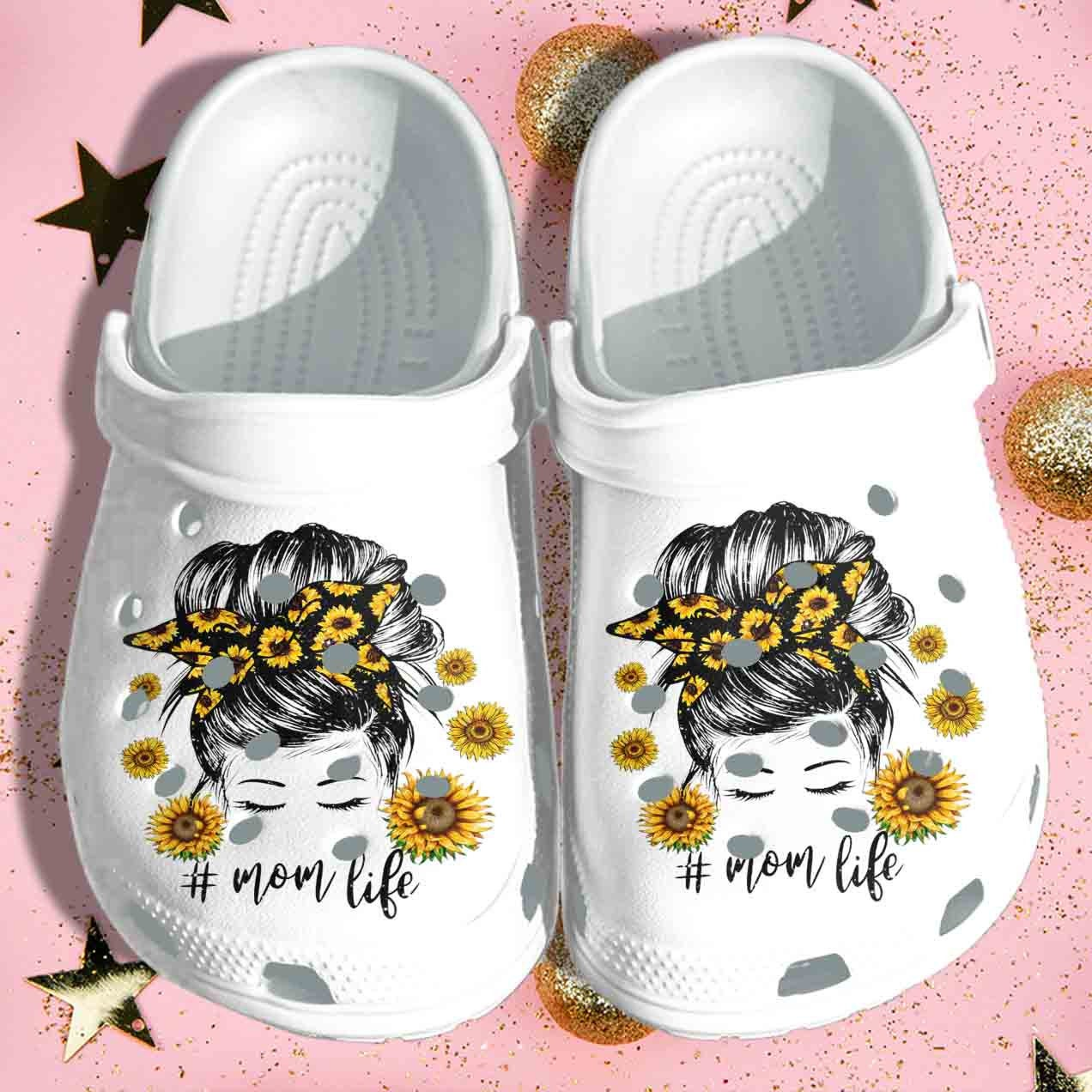 Beautiful Mom In Sunflower Comfortable For Mens And Womens Classic Water Crocs Clog Shoes