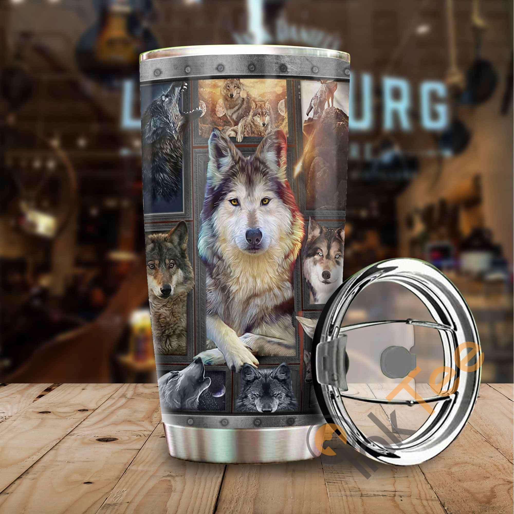 Beautiful Wolf Amazon Best Seller Sku 3387 Stainless Steel Tumbler