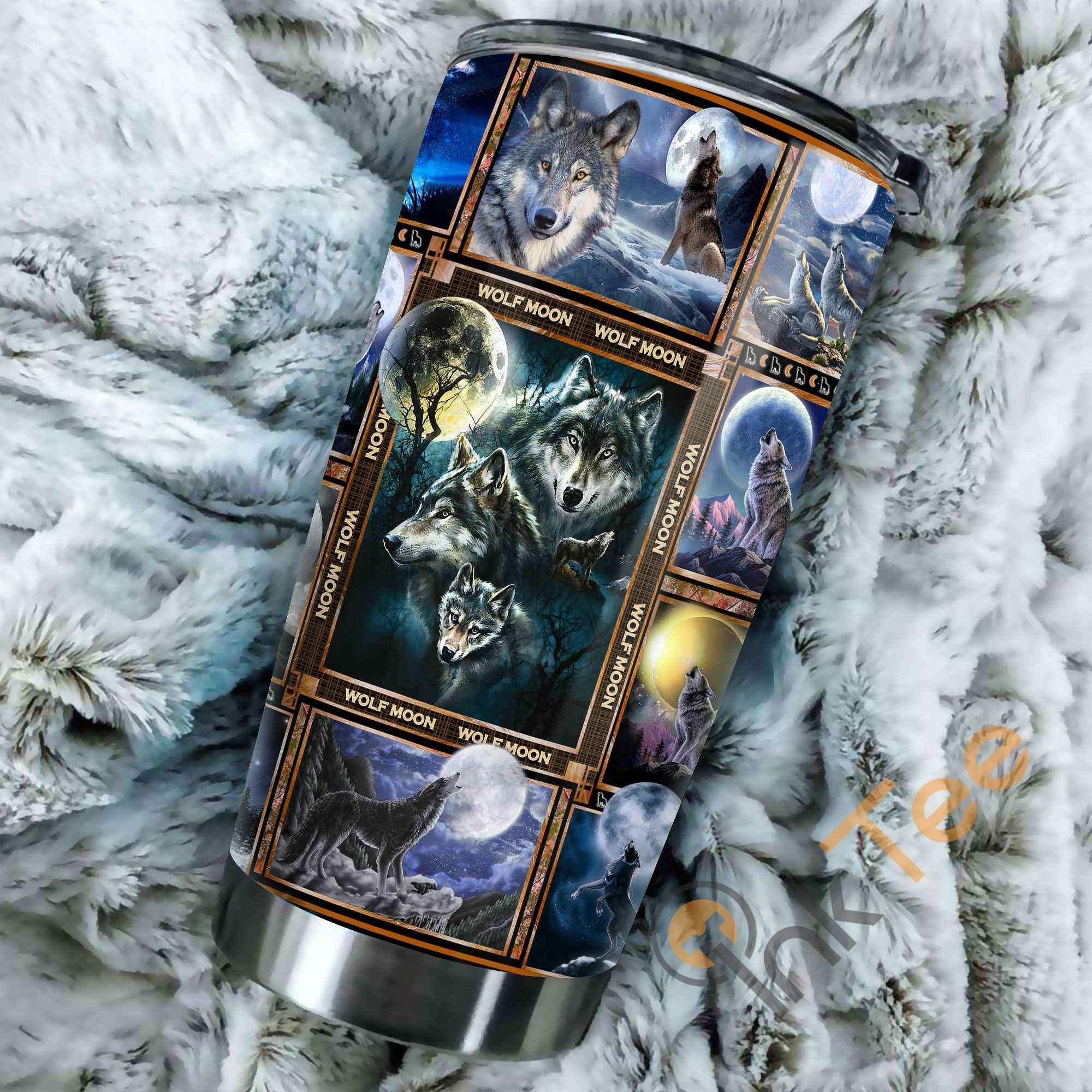 Beautiful Wolf Moon Stainless Steel Tumbler