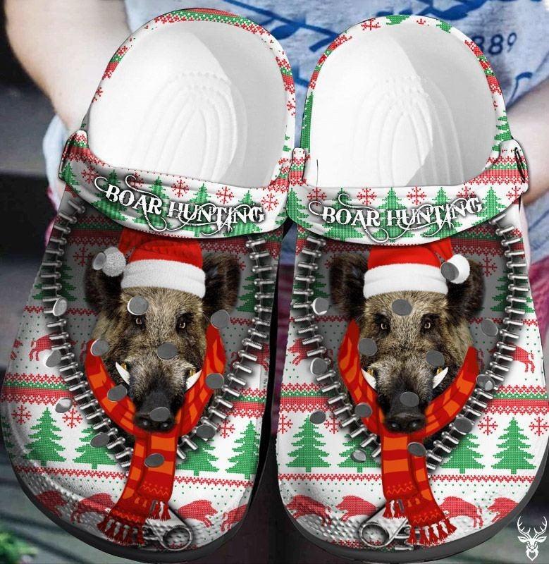 Boar Hunting Christmas Crocs Clog Shoes