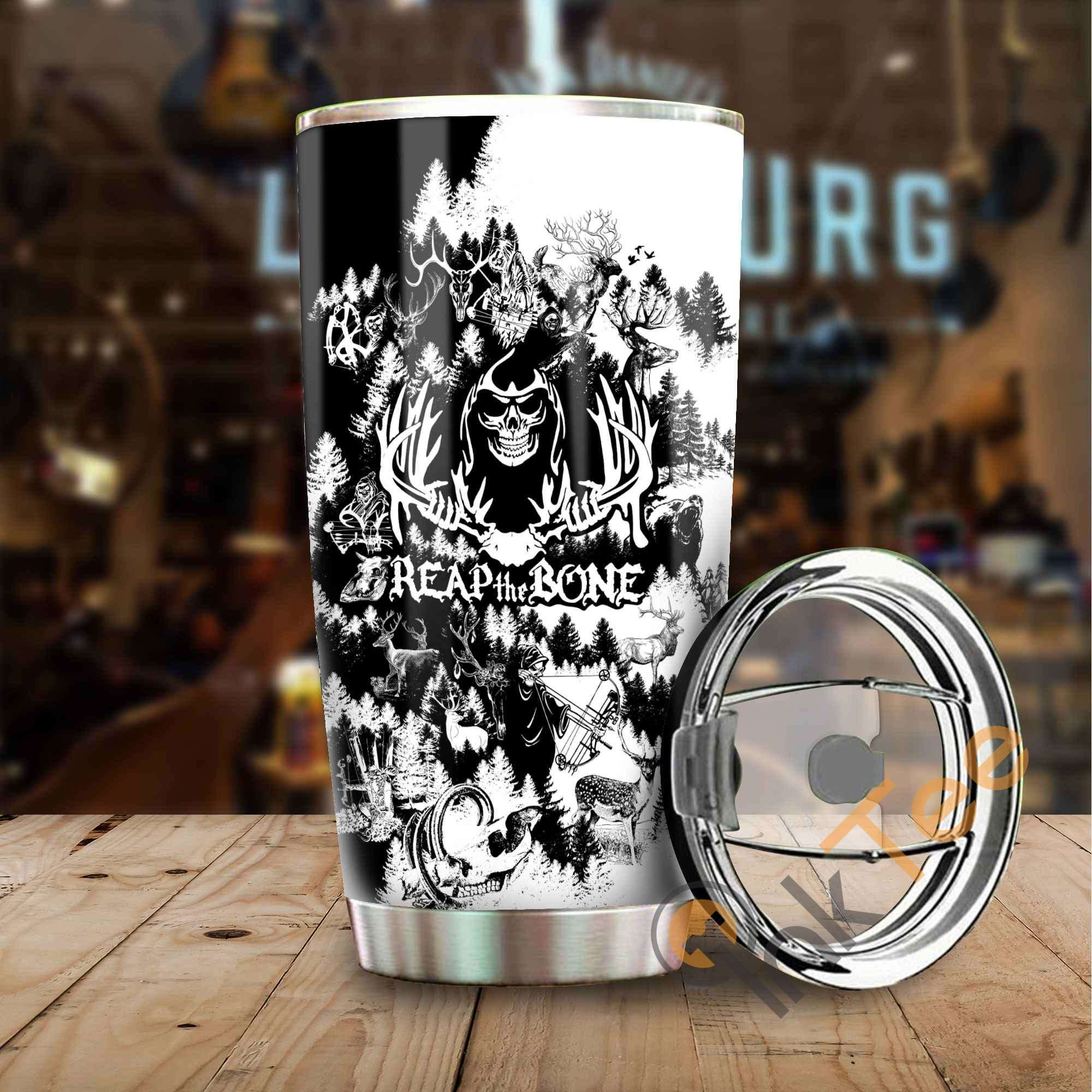 Bone Reaper Black And White Amazon Best Seller Sku 3042 Stainless Steel Tumbler