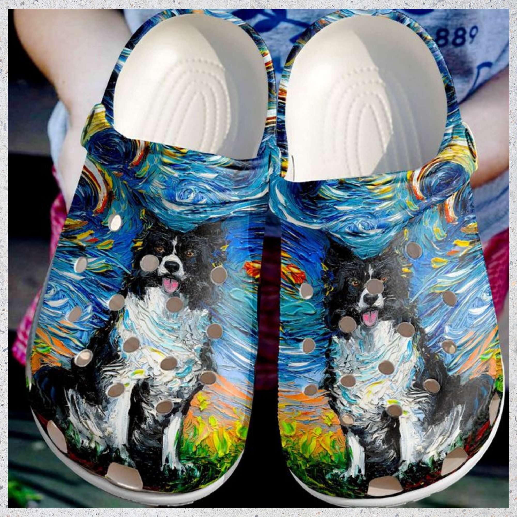 Border Collie Night Crocs Clog Shoes