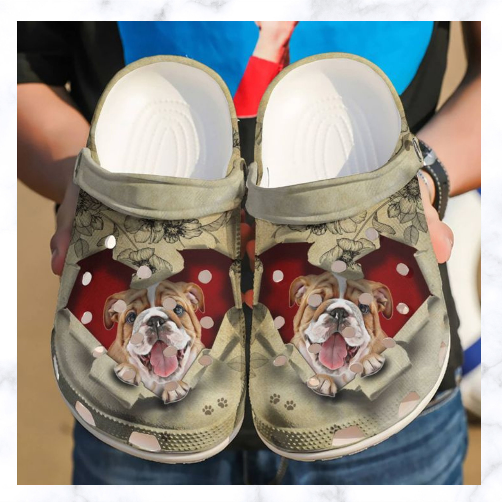 Bulldog They Steal My Heart Crocs Clog Shoes