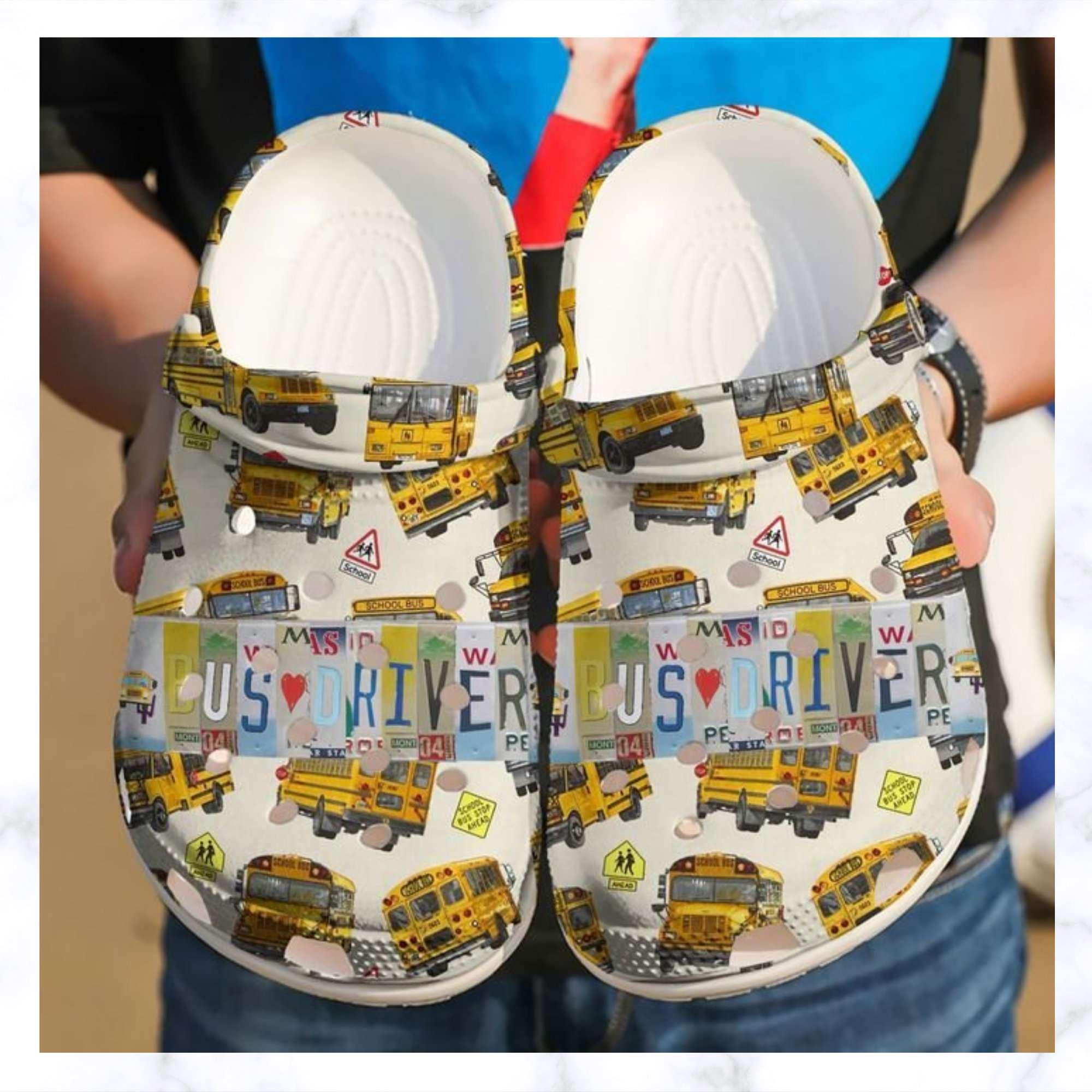 Bus Driver License Plate Crocs Clog Shoes