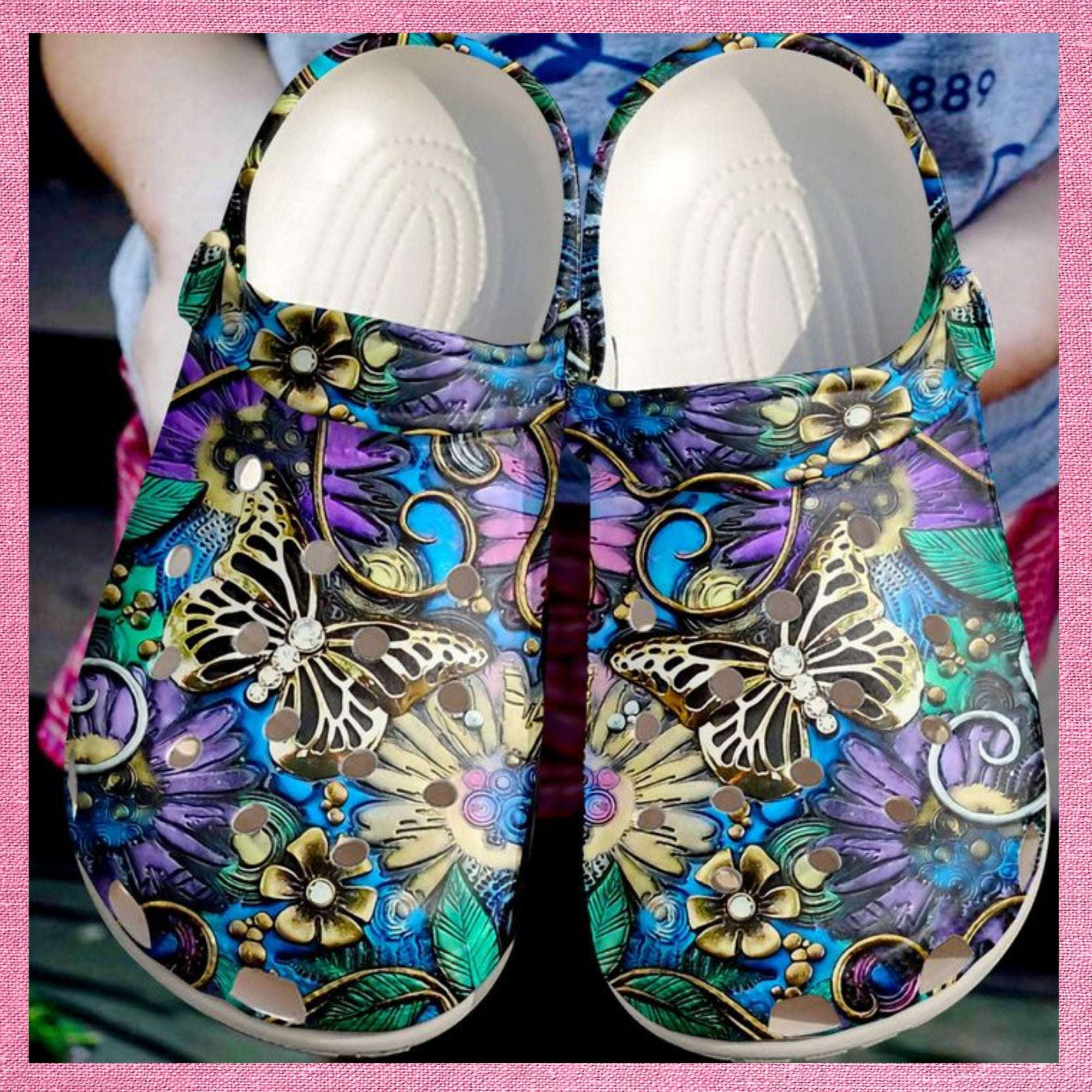 Butterfly Golden Crocs Clog Shoes
