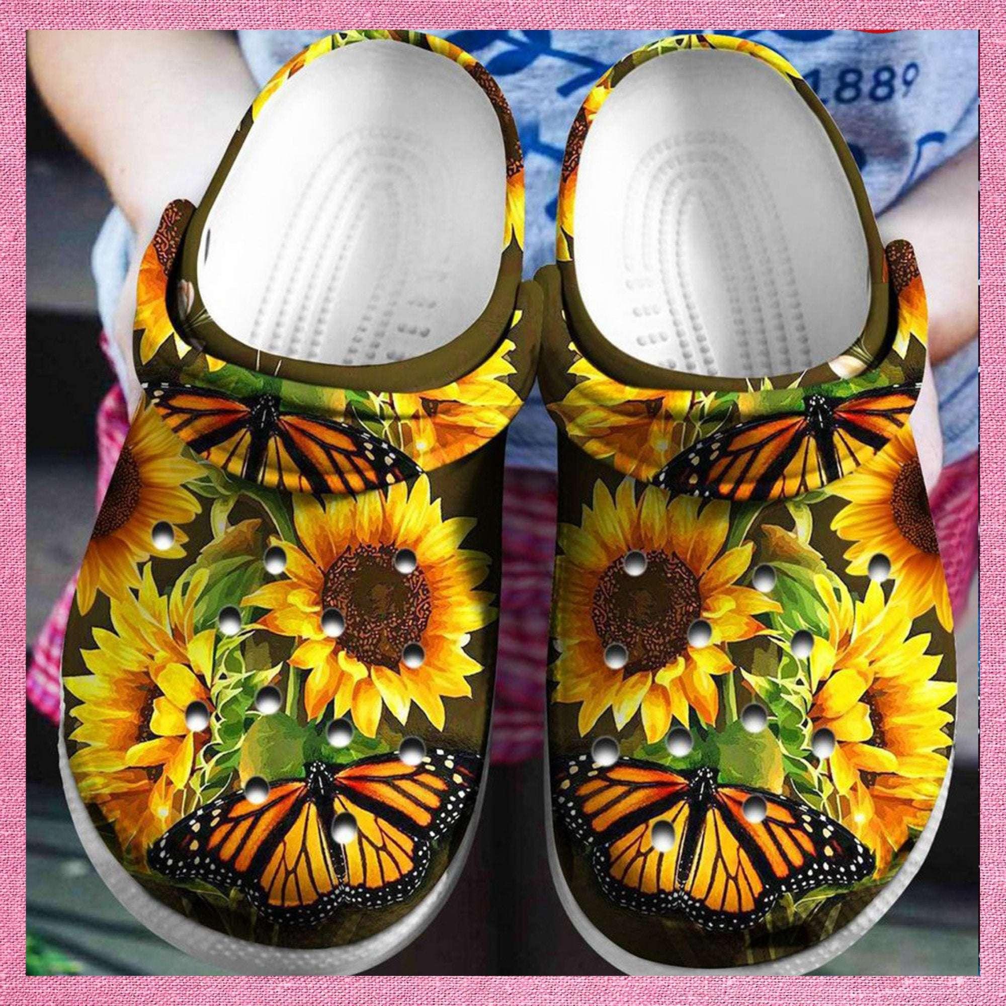 Butterfly Sunflower Crocs Clog Shoes