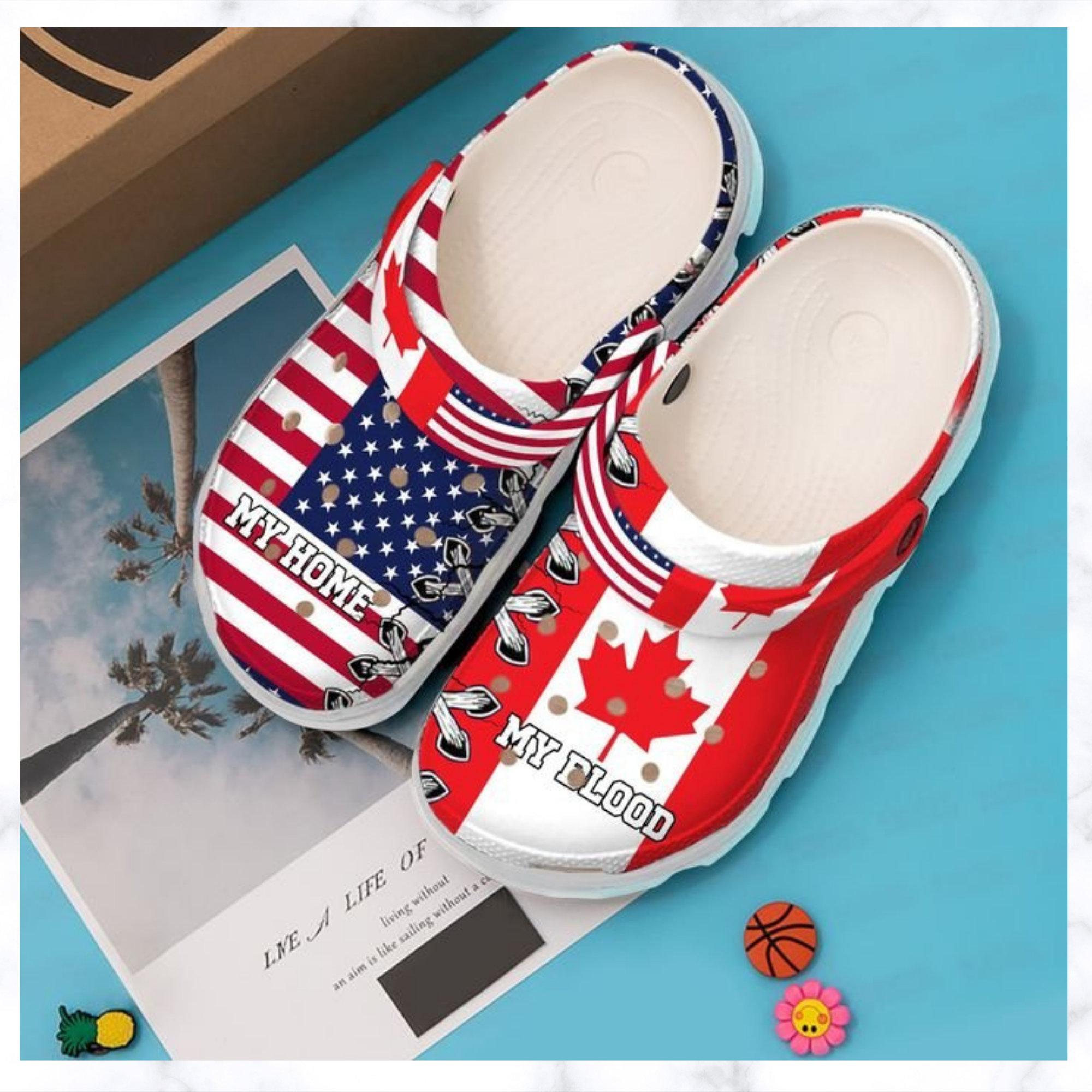 Canada My Home Blood Crocs Clog Shoes