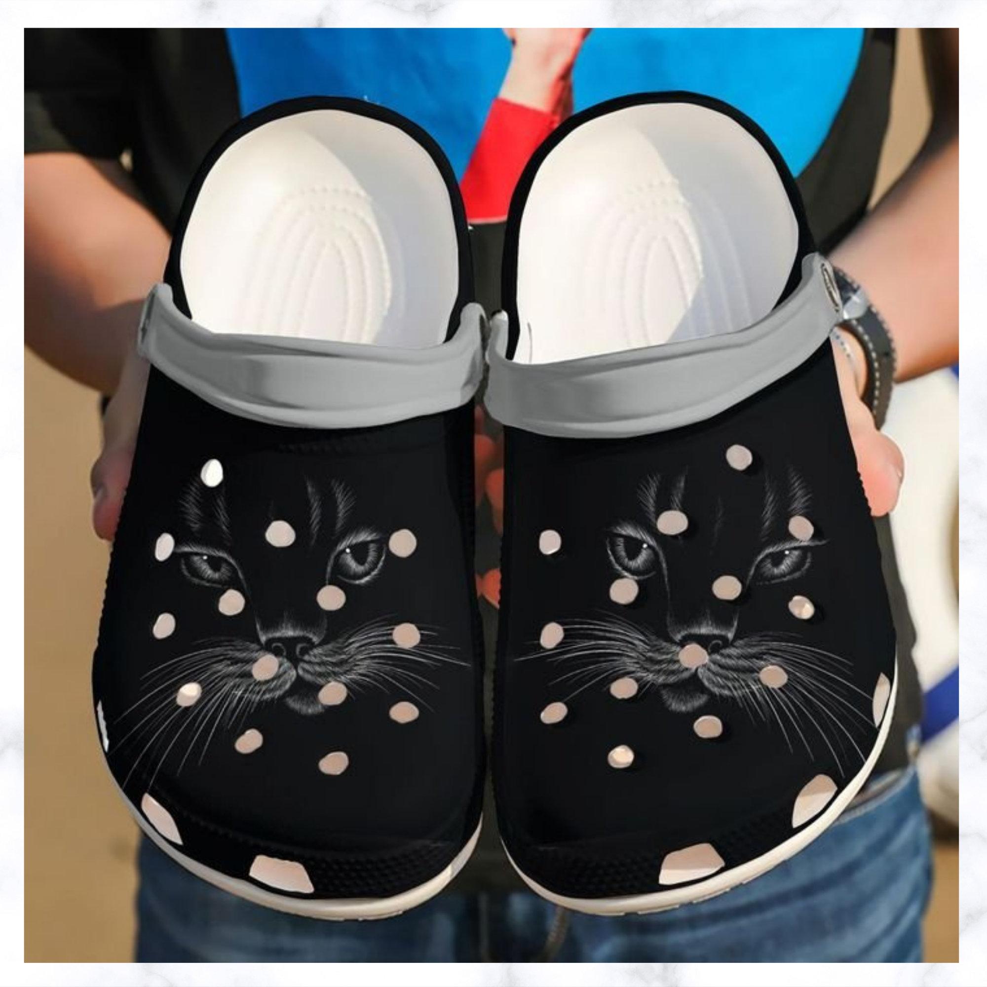 Cat Black Face Crocs Clog Shoes
