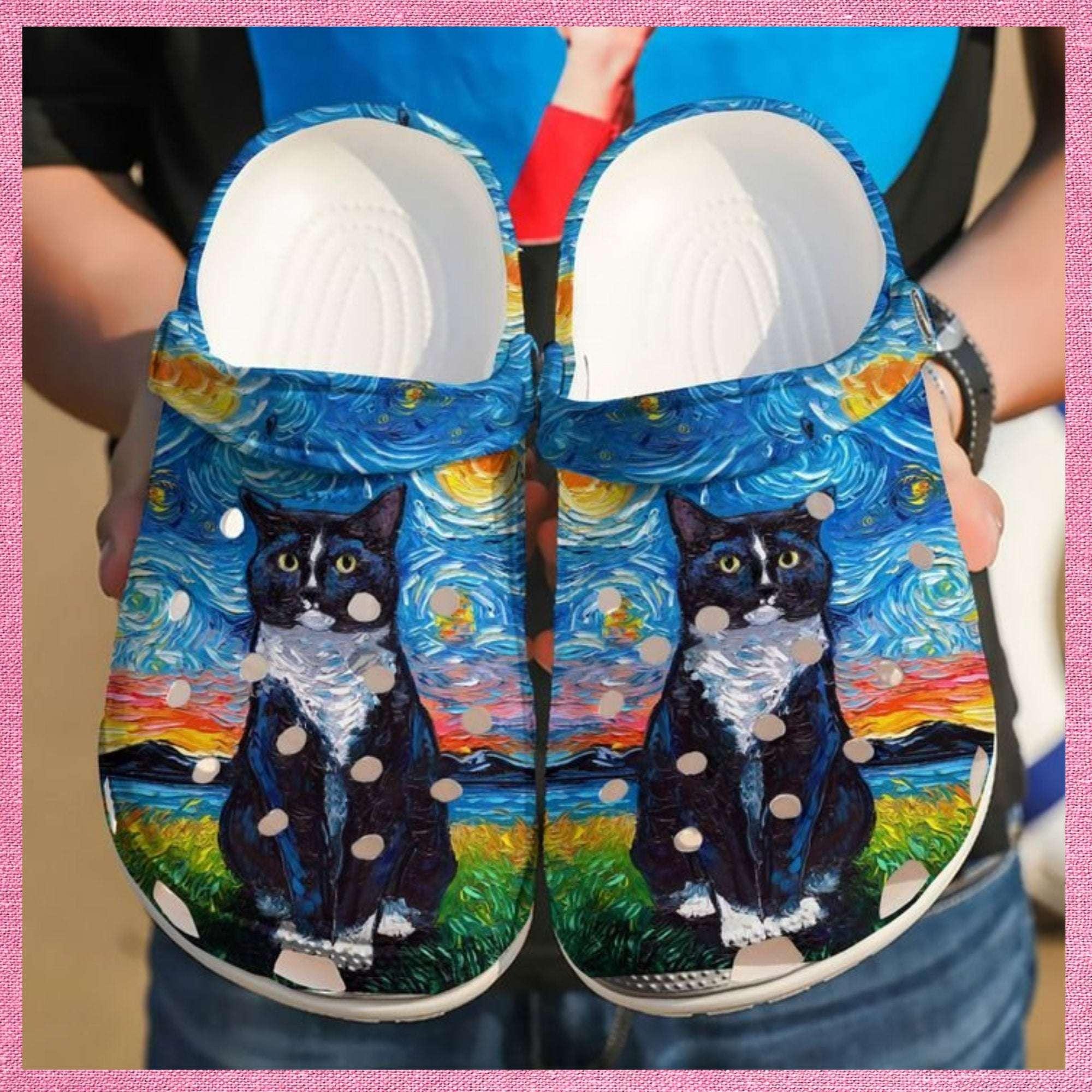 Cat Black Night Crocs Clog Shoes