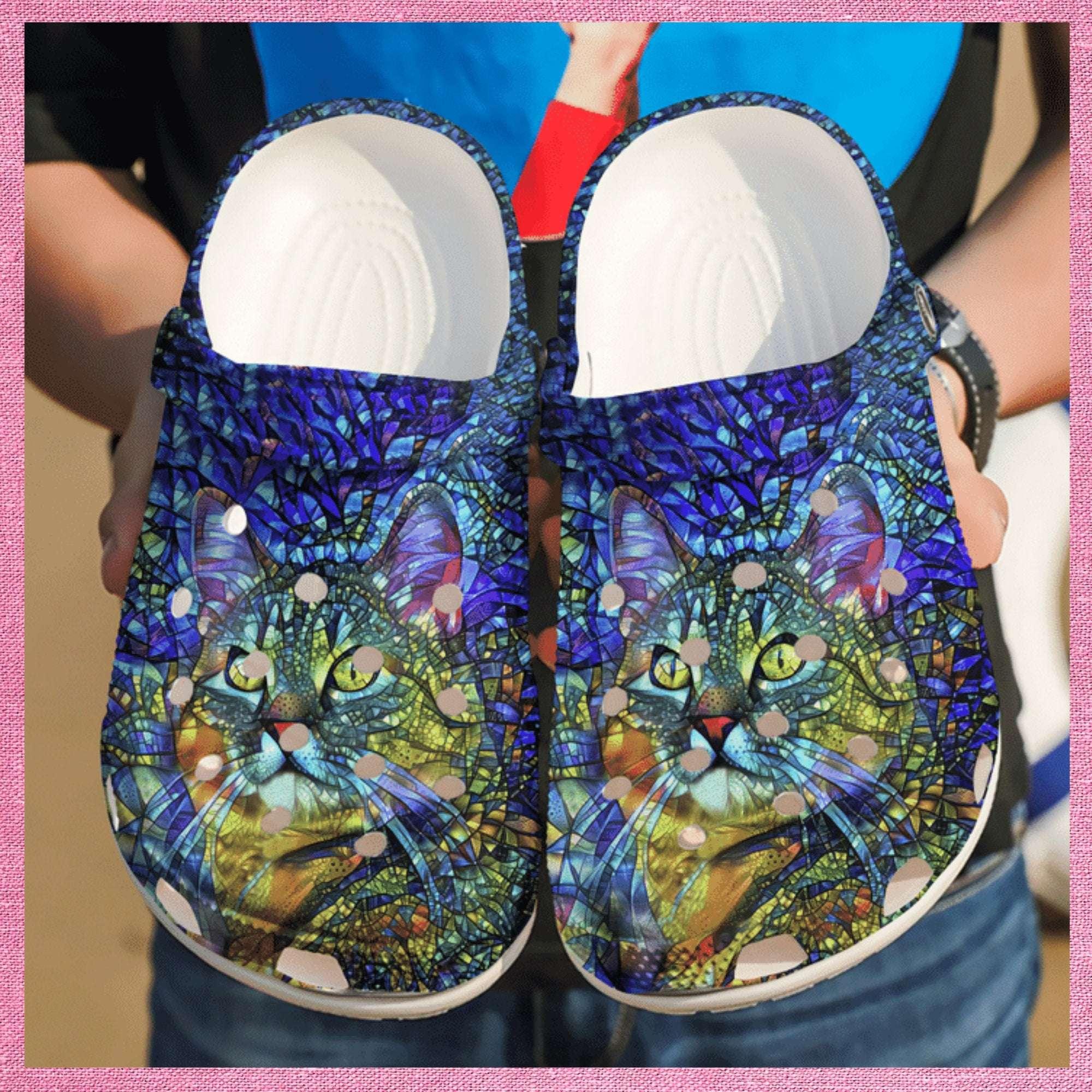 Cat Heaven Colorful Crocs Clog Shoes