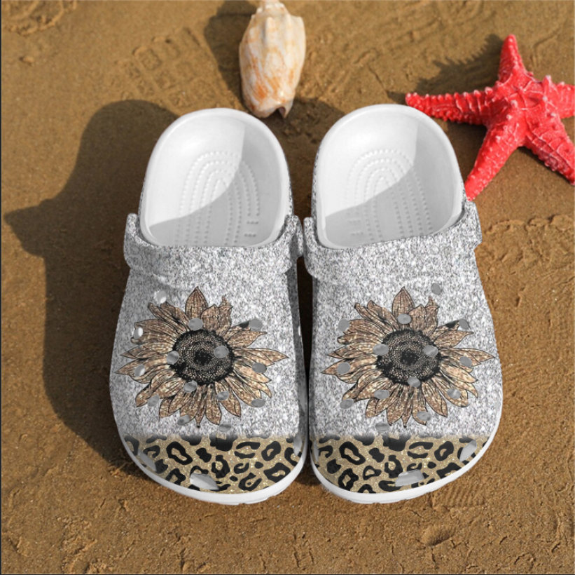 Cheetah Flower Crocs Clog Shoes