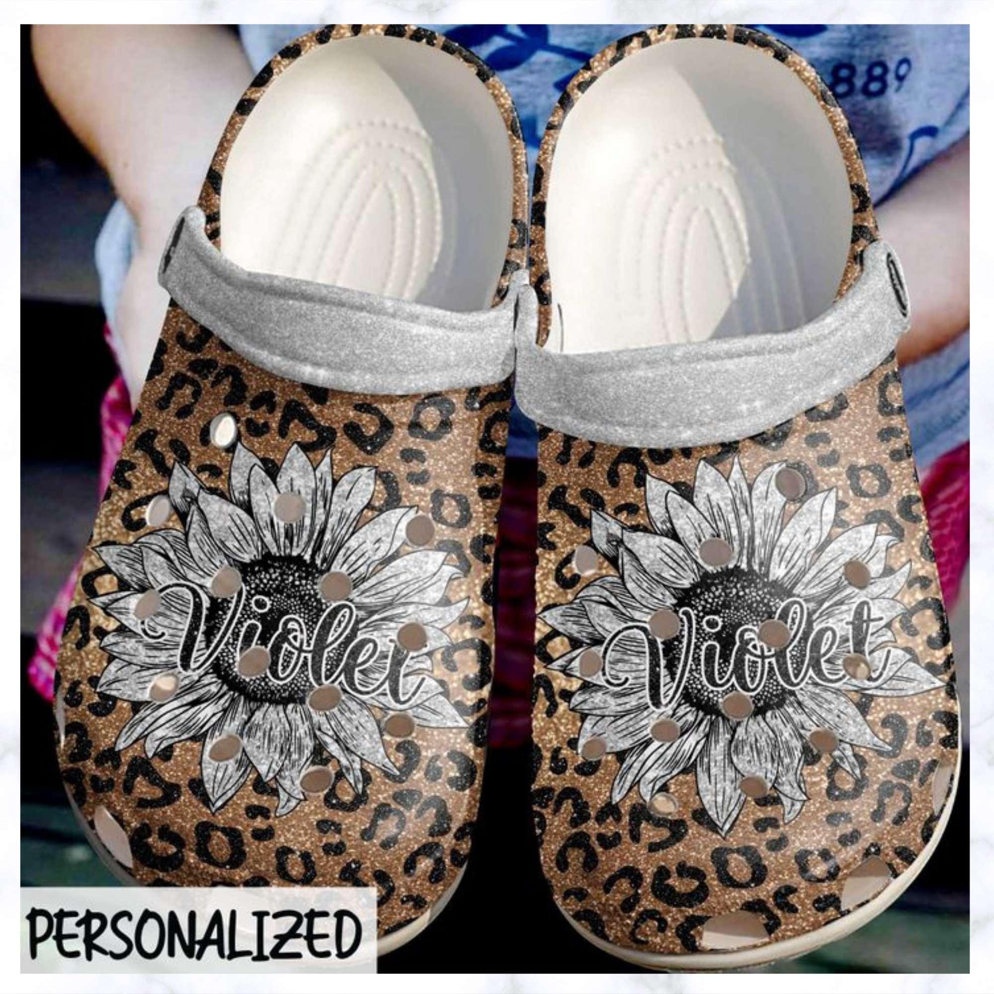 Cheetah Personalized Sunflower Crocs Clog Shoes