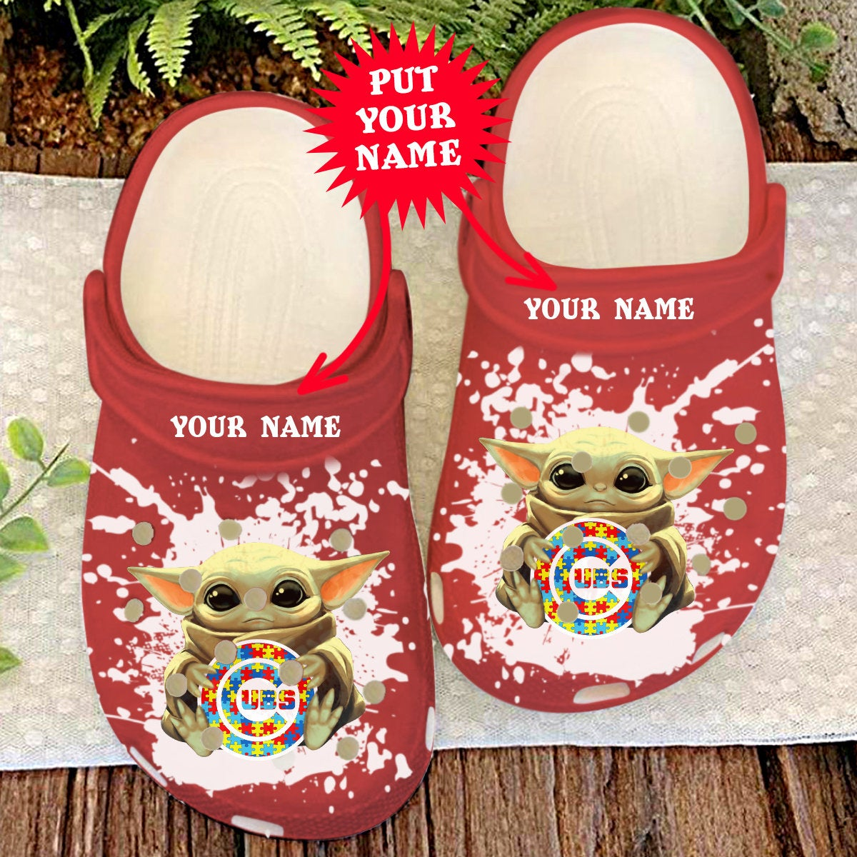 Chicago Cubs Personalisation Baby Yoda Autism Crocs Clog Shoes