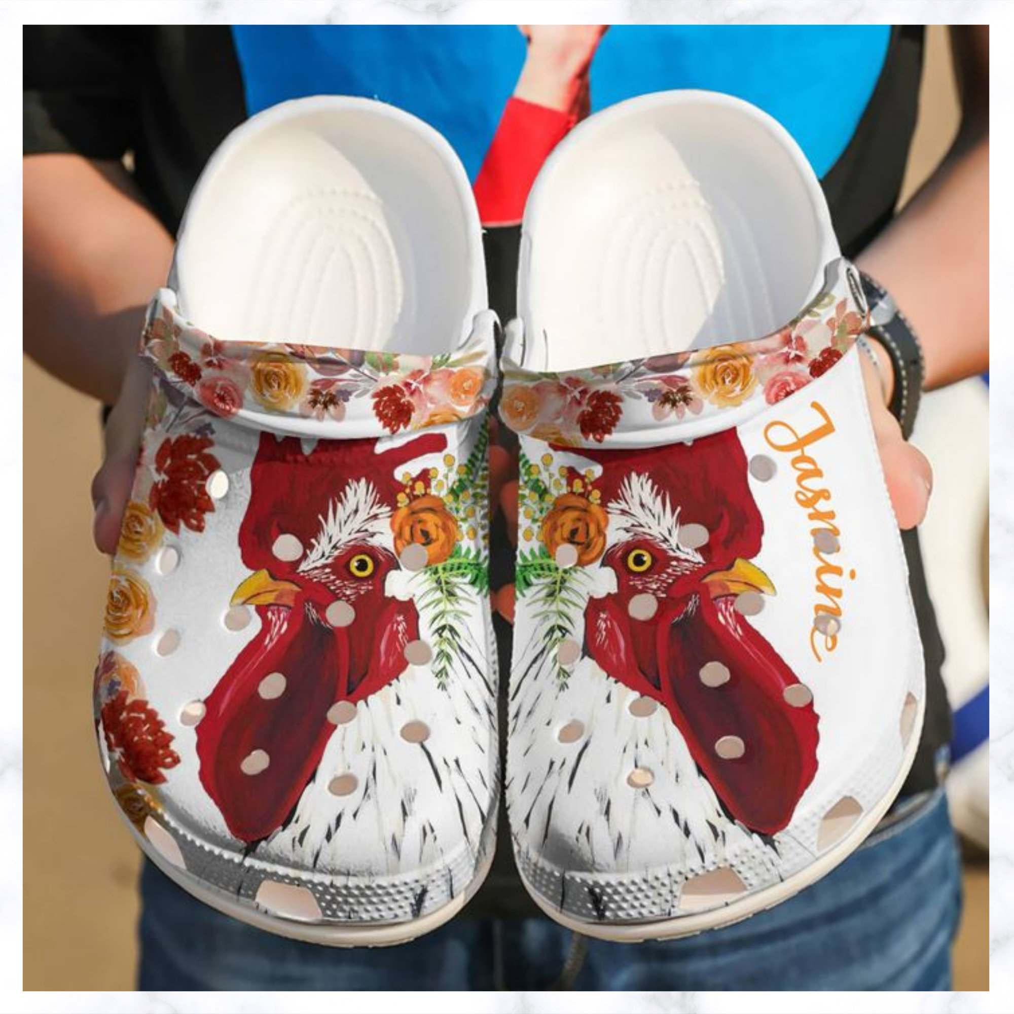 Chicken Personalized Floral Crocs Clog Shoes