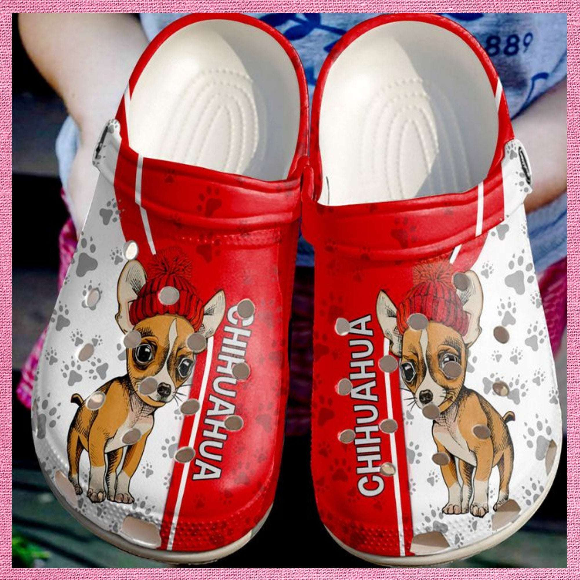Chihuahua Love Red Crocs Clog Shoes
