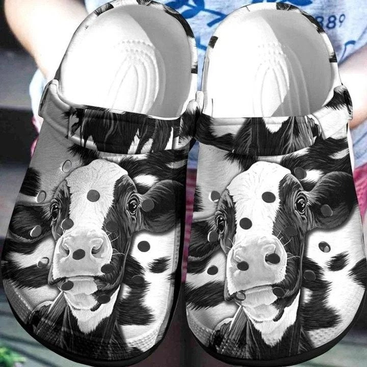 Cow Black And White Crocs Clog Shoes