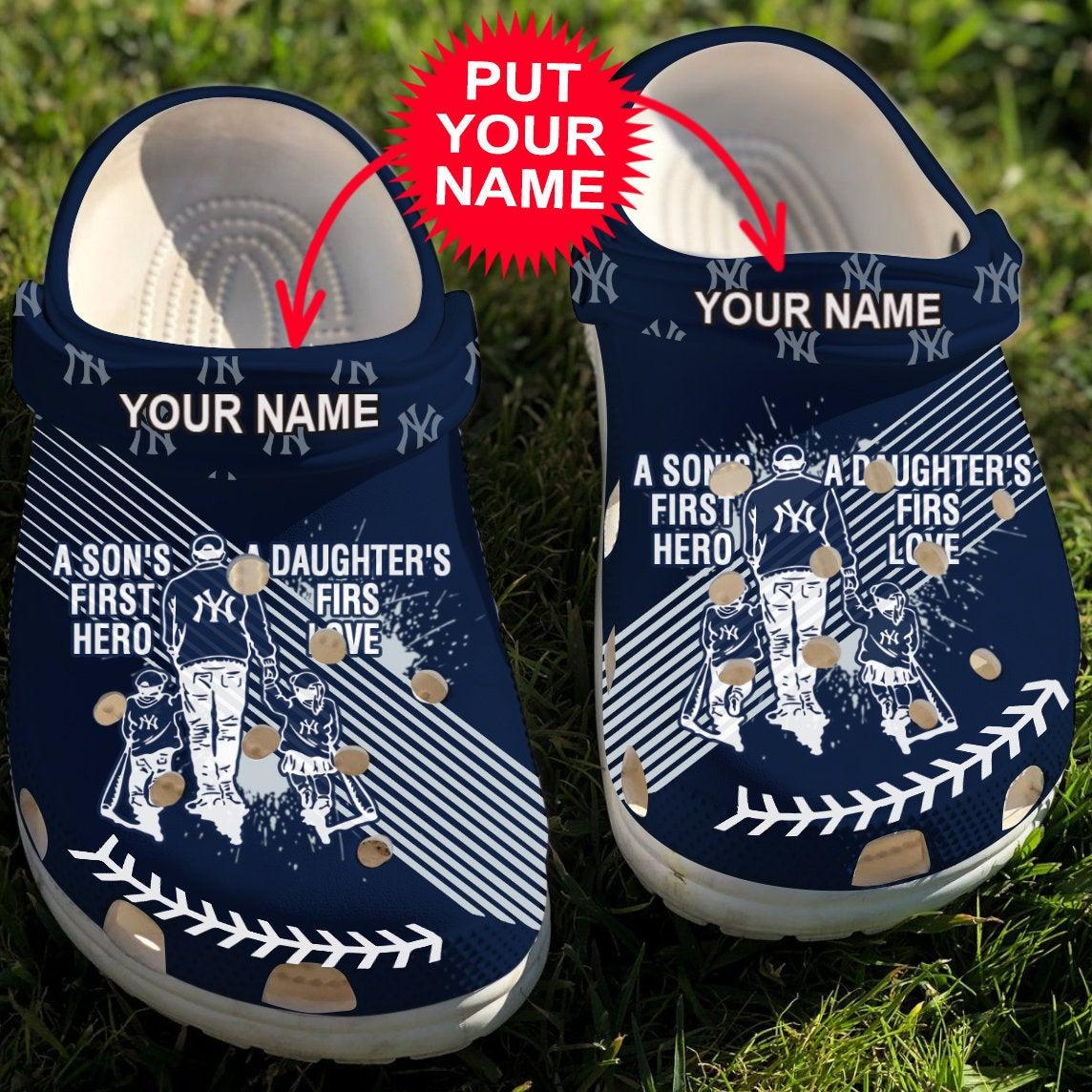 Dad And Son Daughter Mlb Ny Yankees Crocs Clog Shoes