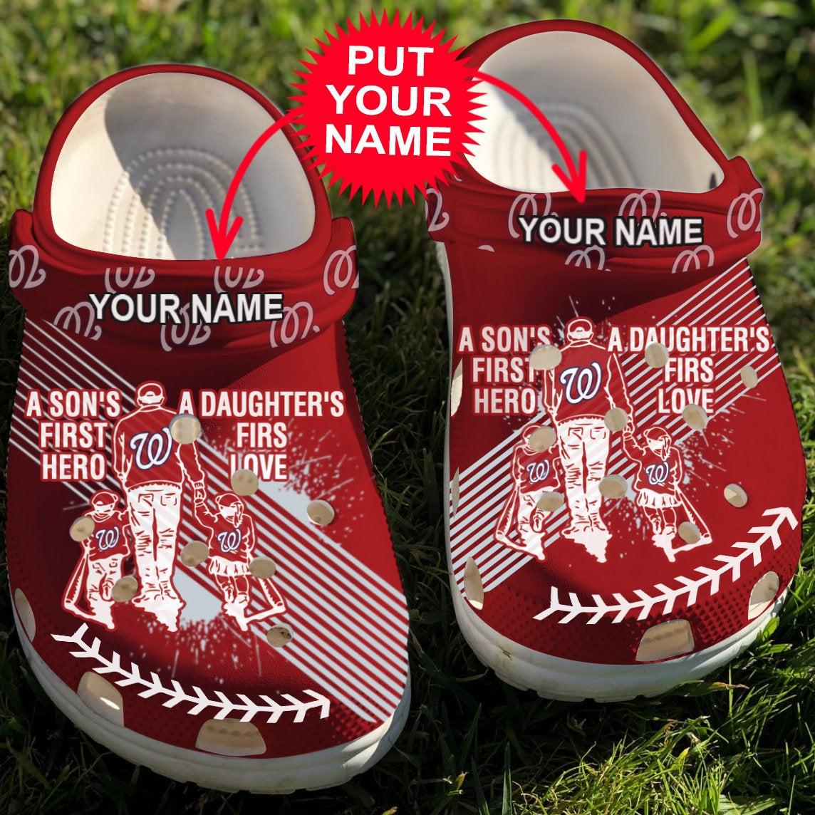 Dad And Son Daughter Mlb Washington Nationals Crocs Clog Shoes