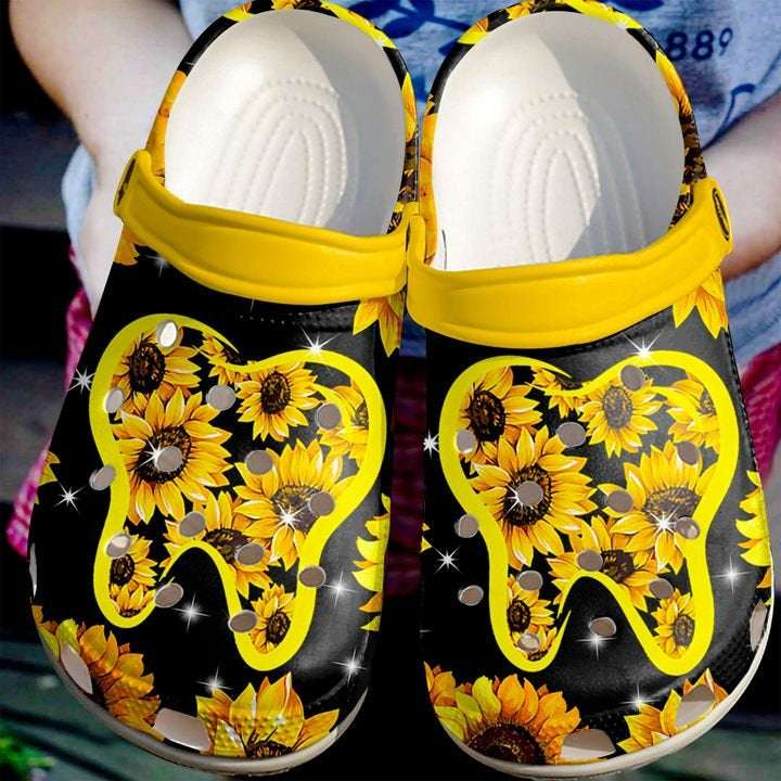Dentist Sunflower Crocs Clog Shoes