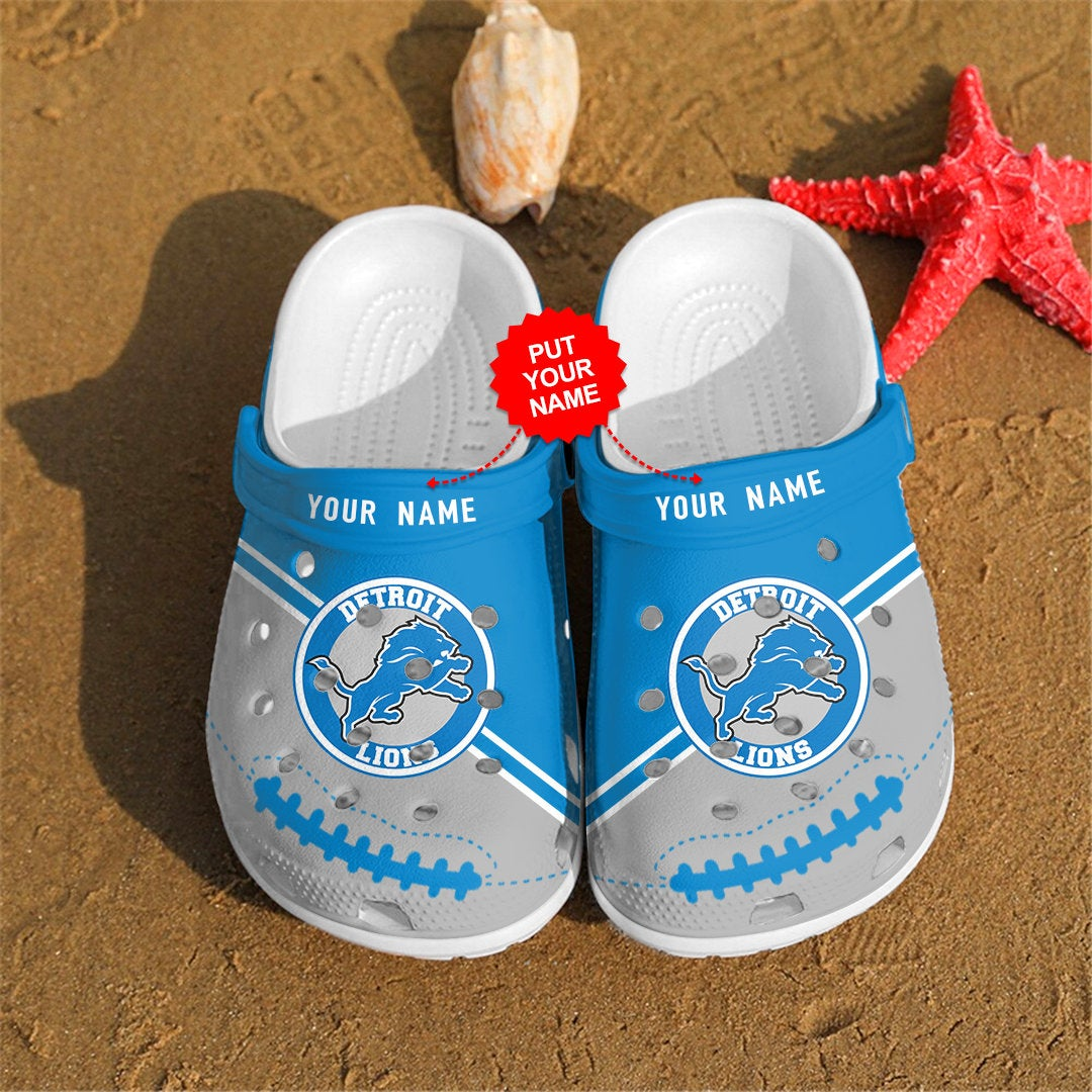 Detroit Lions Personalized Custom For Nfl Fans Crocs Clog Shoes