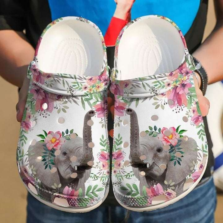 Elephant Floral Crocs Clog Shoes