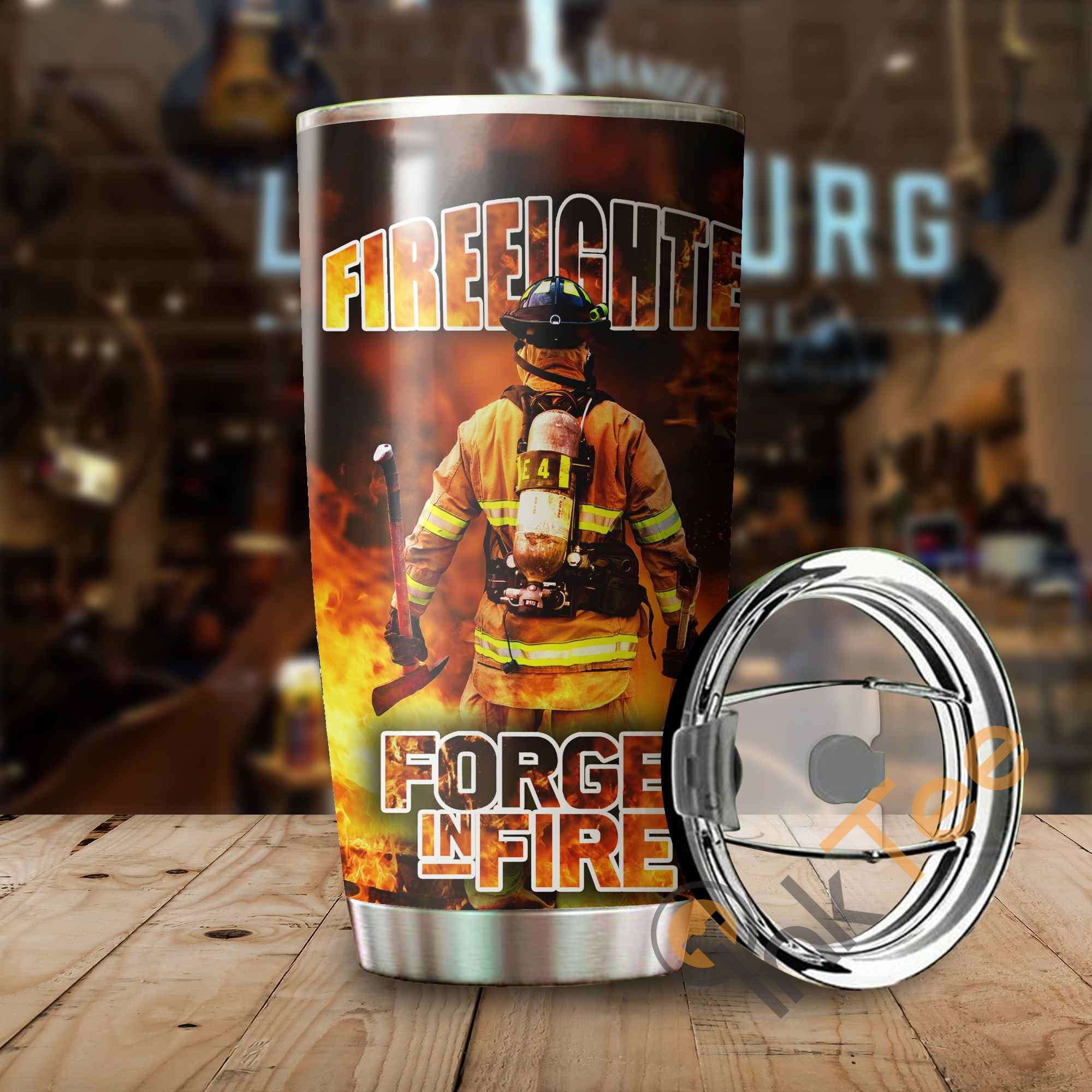 Firefighter ' Forged In Fire Stainless Steel Tumbler